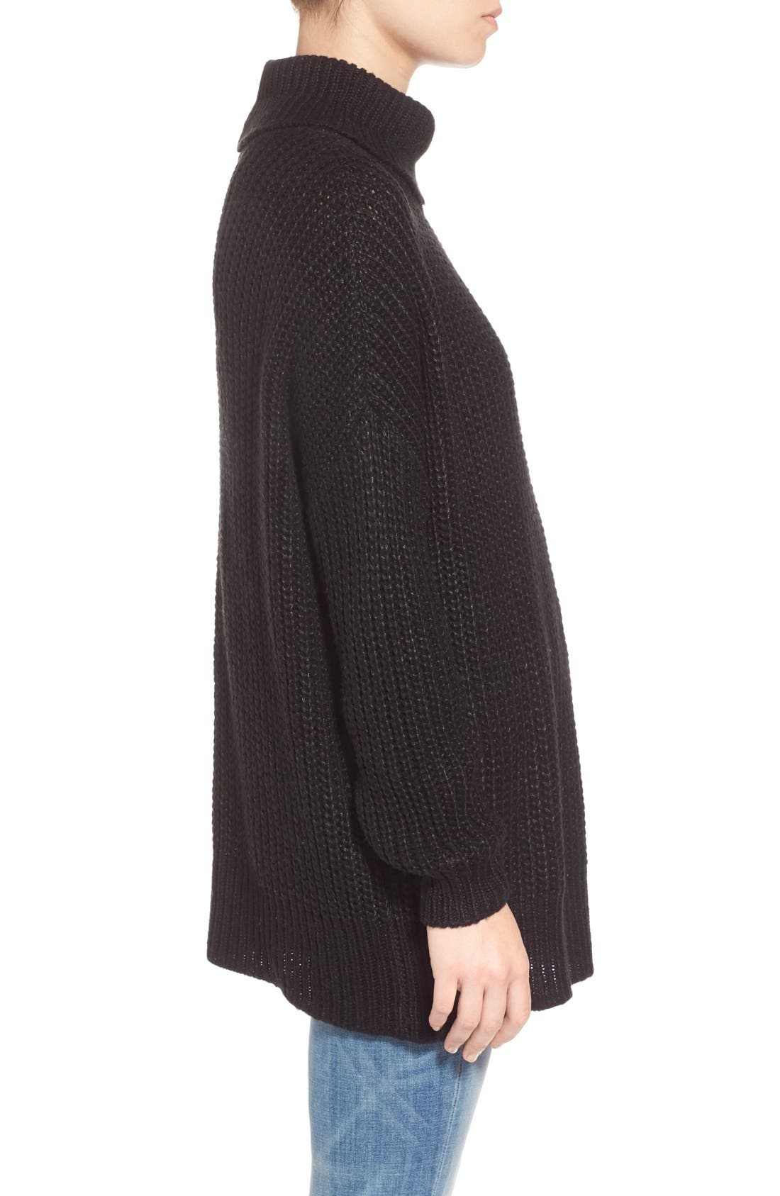 LEITH, Oversize Turtleneck Sweater, Alternate thumbnail 2, color, 001