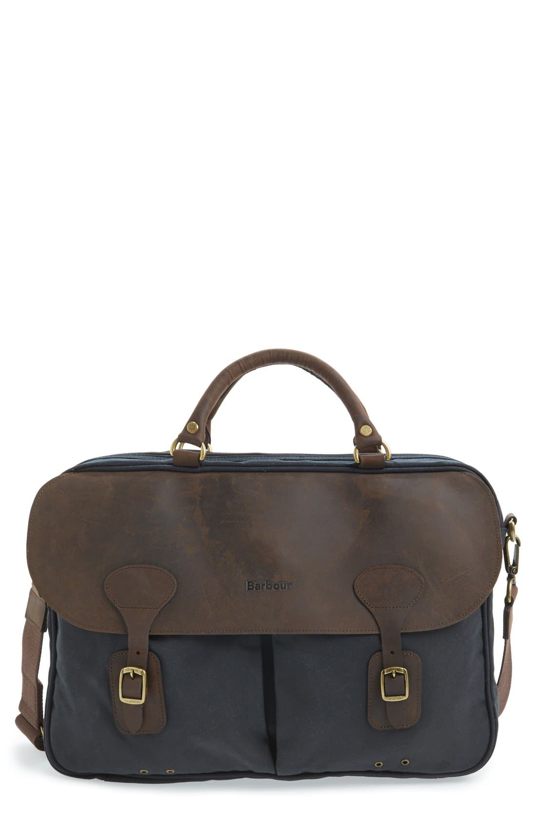 BARBOUR Waxed Canvas Briefcase, Main, color, NAVY
