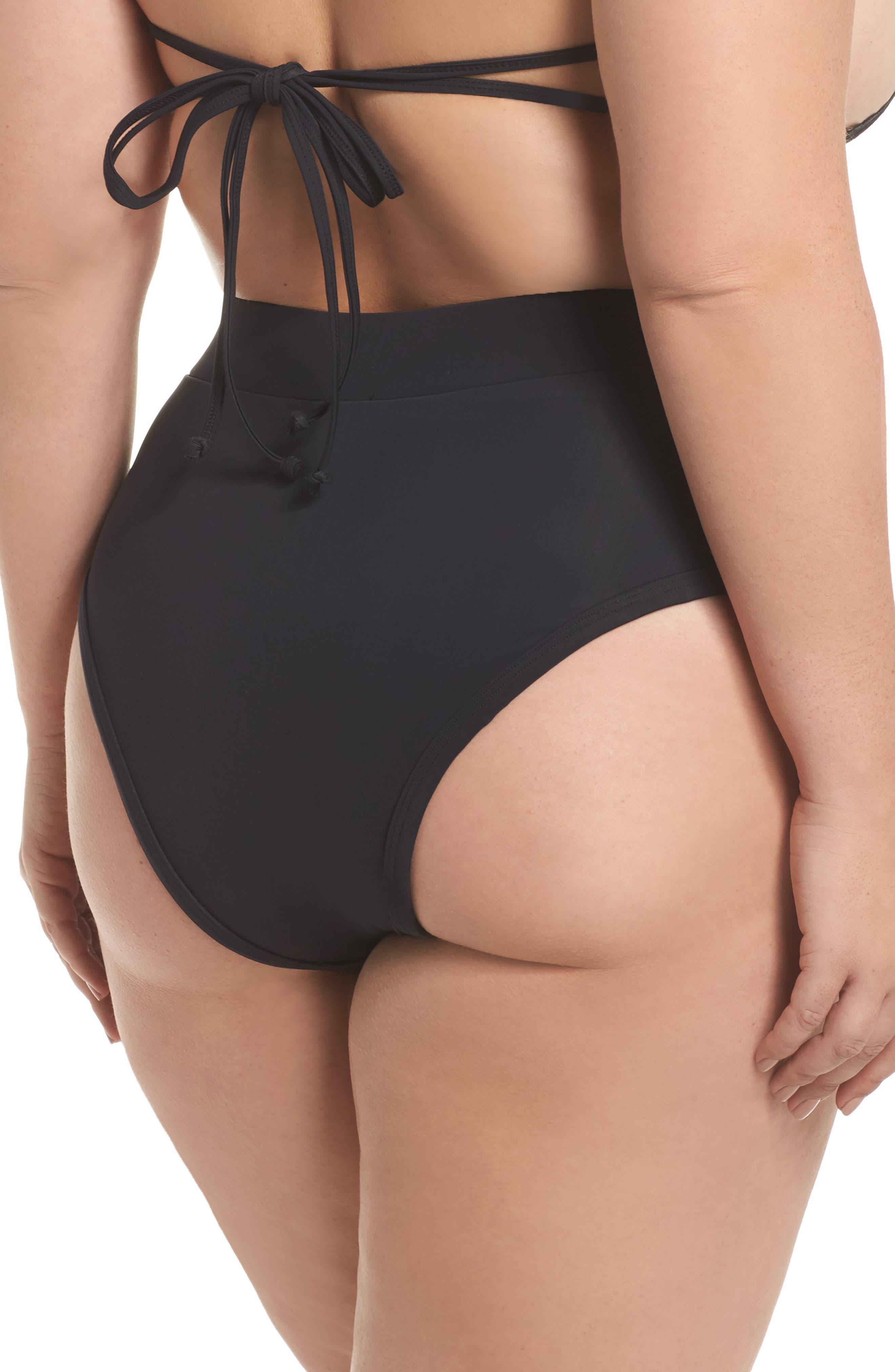 ALPINE BUTTERFLY, Lover High Waist Bikini Bottoms, Alternate thumbnail 2, color, BLACK