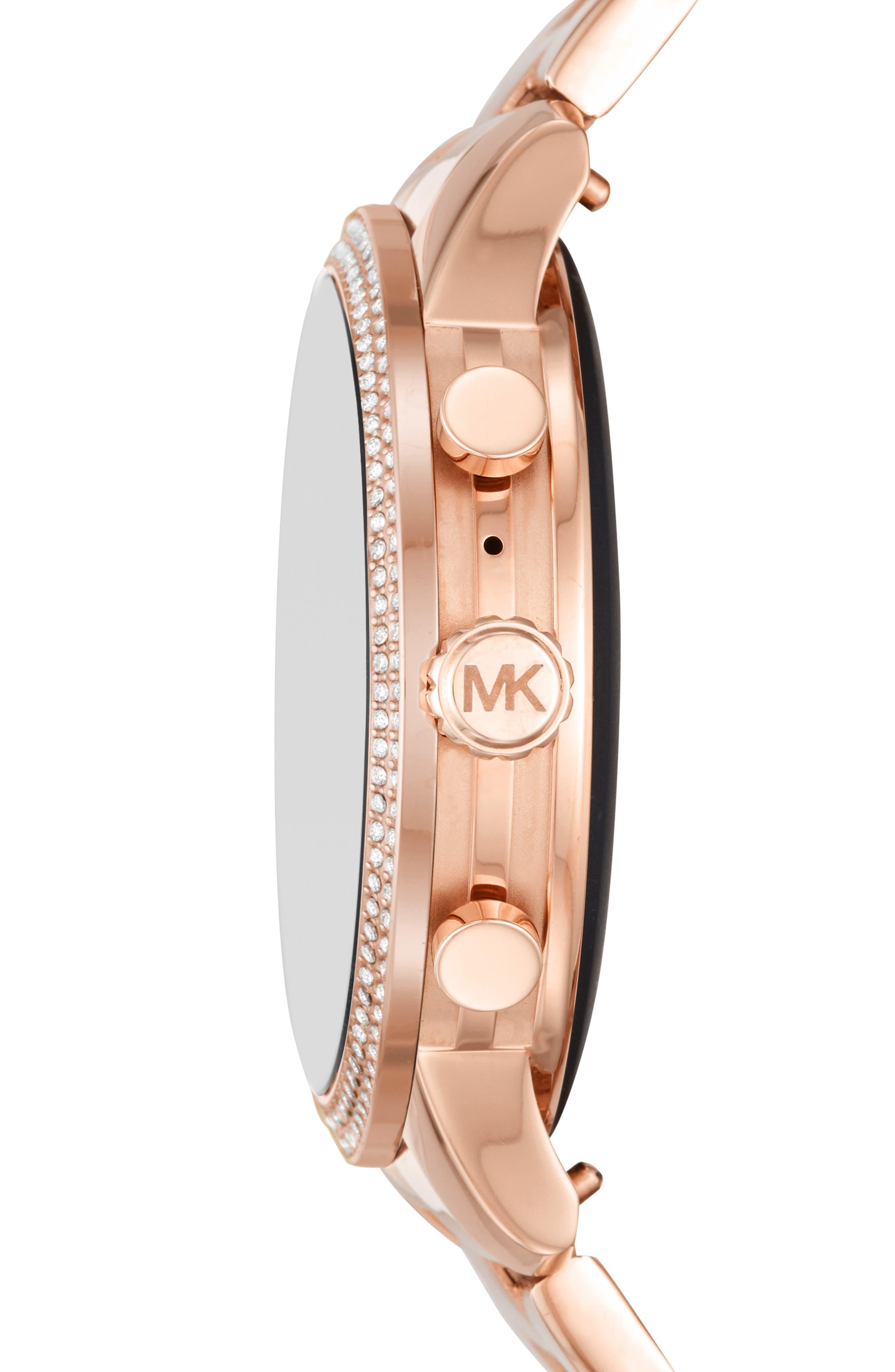 MICHAEL KORS, MICHAEL Michael Kors Access Runway Smart Bracelet Watch, 41mm, Alternate thumbnail 3, color, ROSE GOLD