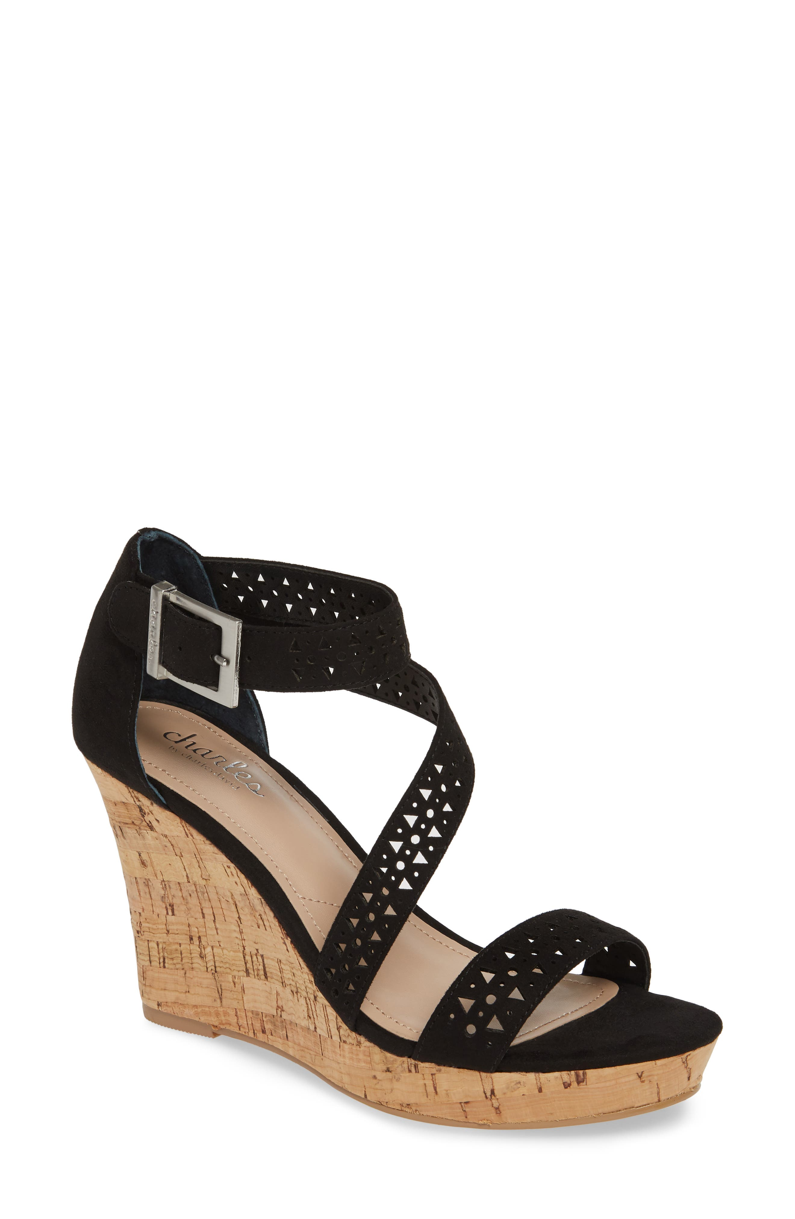 CHARLES BY CHARLES DAVID Landon Perforated Wedge Sandal, Main, color, BLACK FABRIC