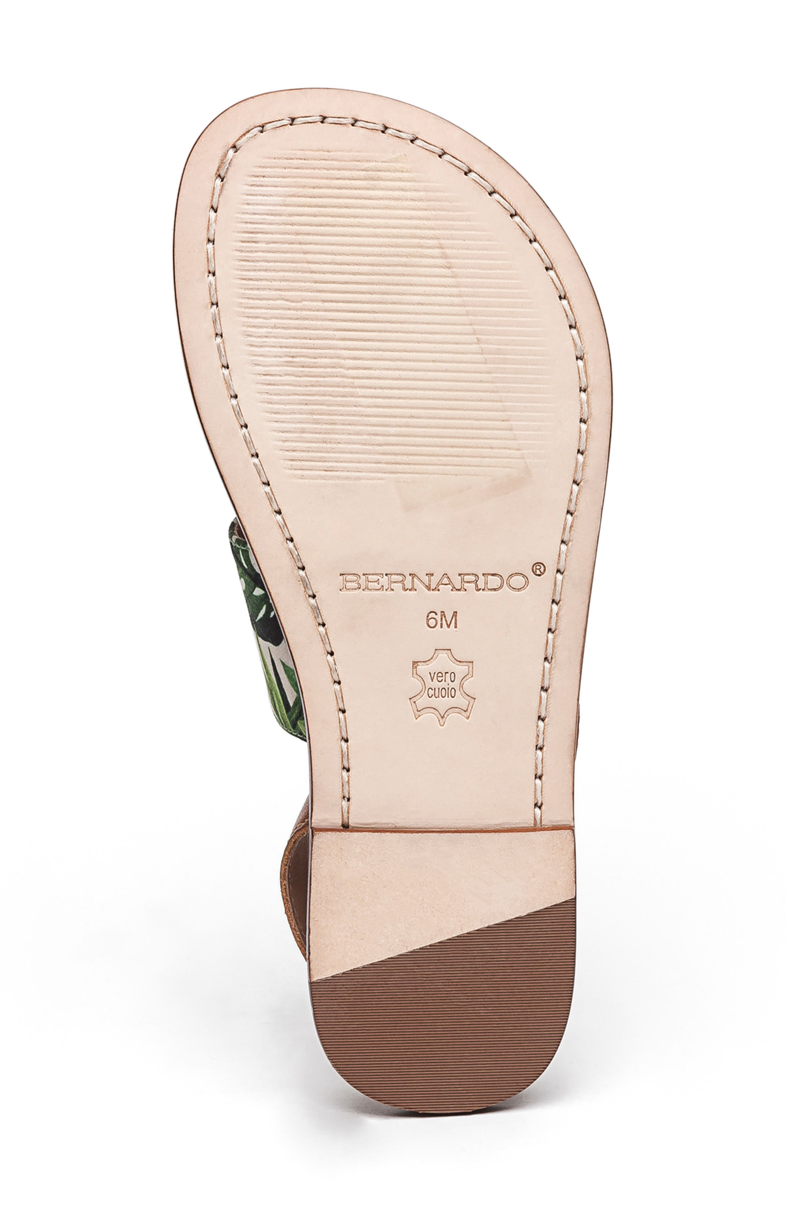 BERNARDO, Footwear Meg Thong Sandal, Alternate thumbnail 6, color, PALM FABRIC/ LUGGAGE LEATHER