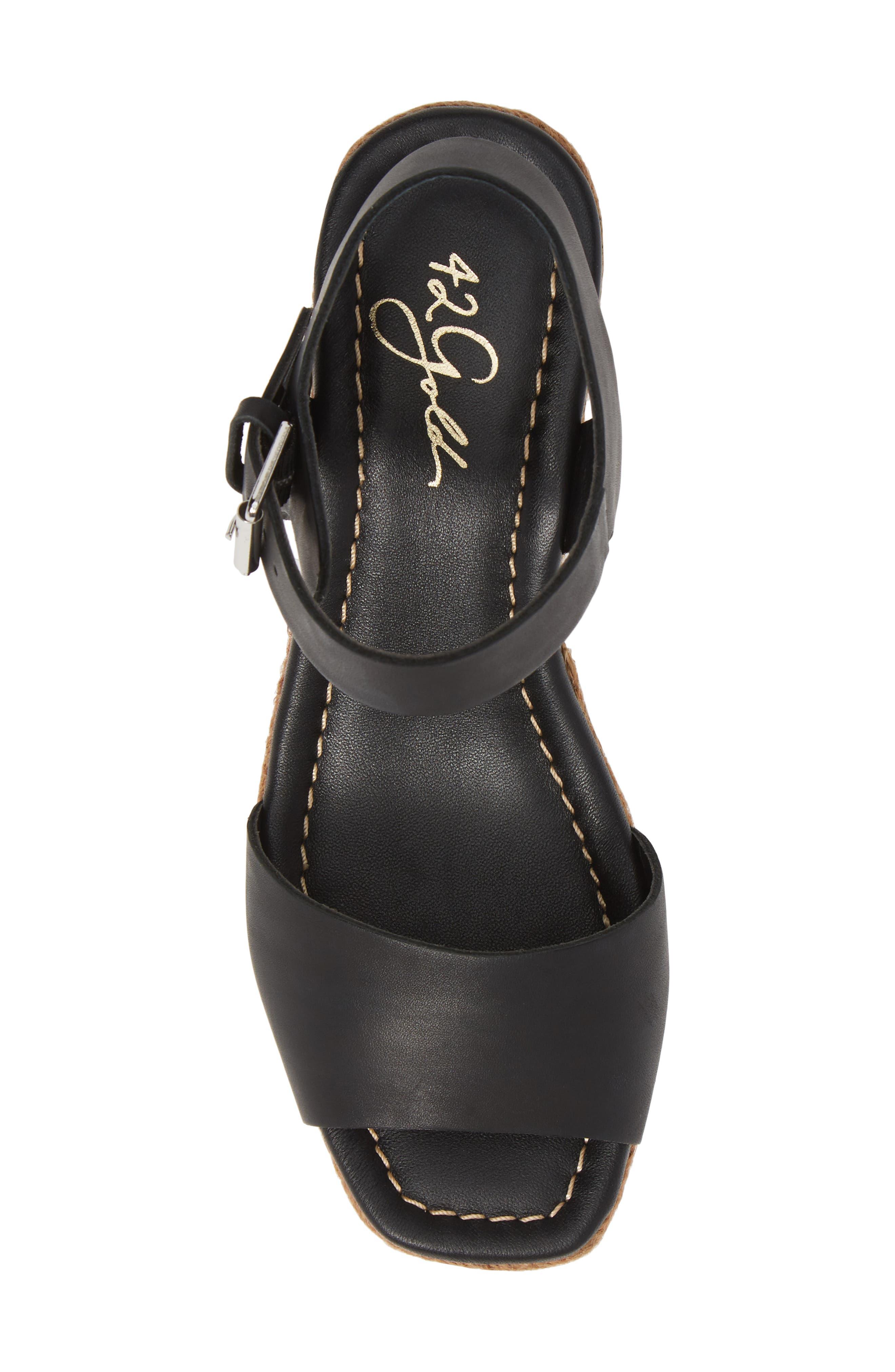 42 GOLD, Maine Platform Wedge Sandal, Alternate thumbnail 5, color, BLACK LEATHER