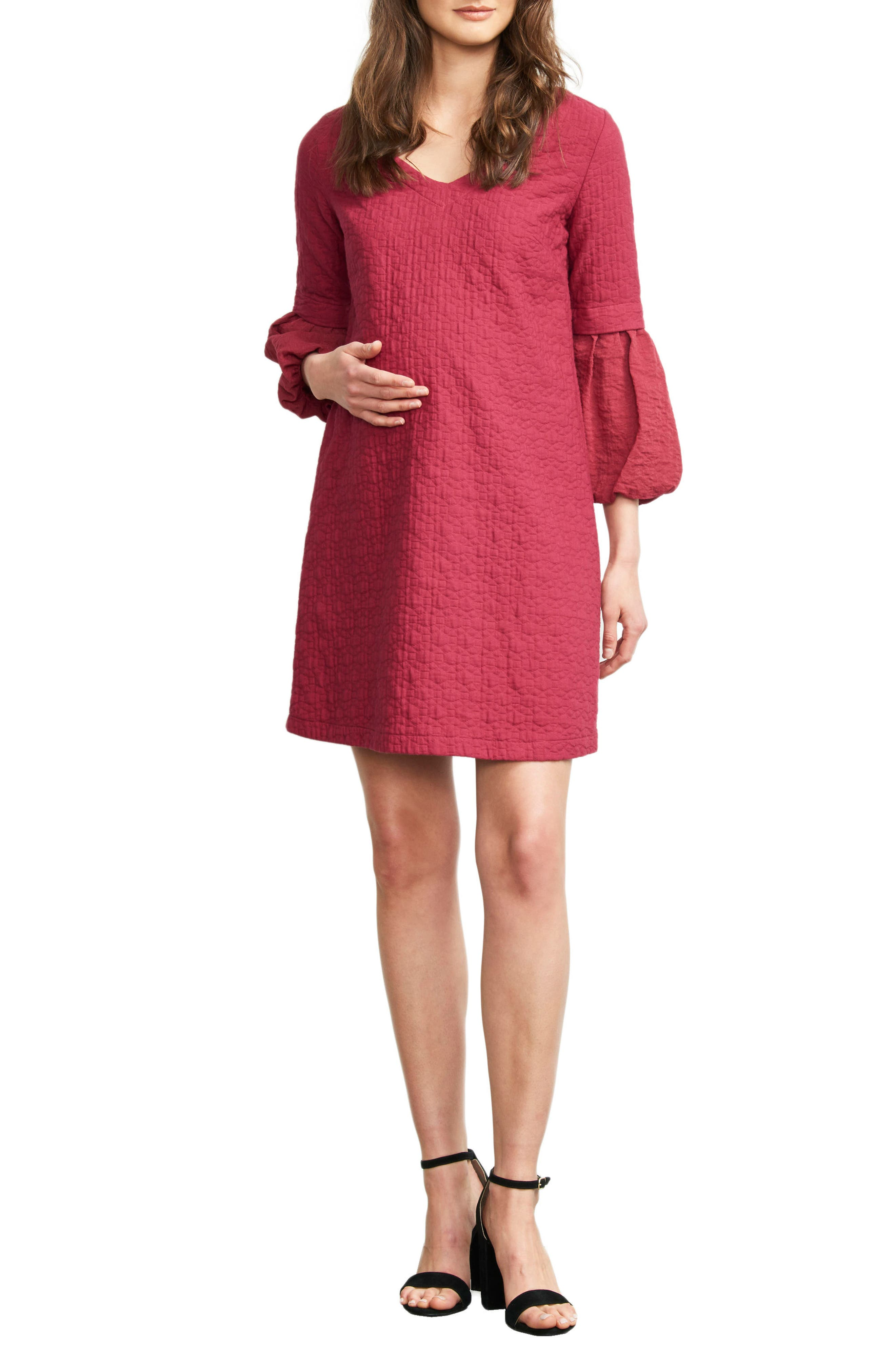 MATERNAL AMERICA Bubble Sleeve Maternity Shift Dress, Main, color, MAGENTA