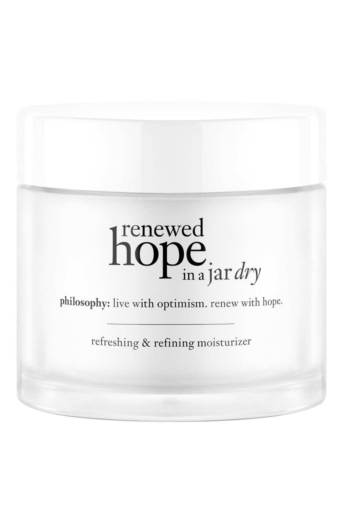PHILOSOPHY, 'renewed hope in a jar dry' refreshing & refining moisturizer, Main thumbnail 1, color, NO COLOR