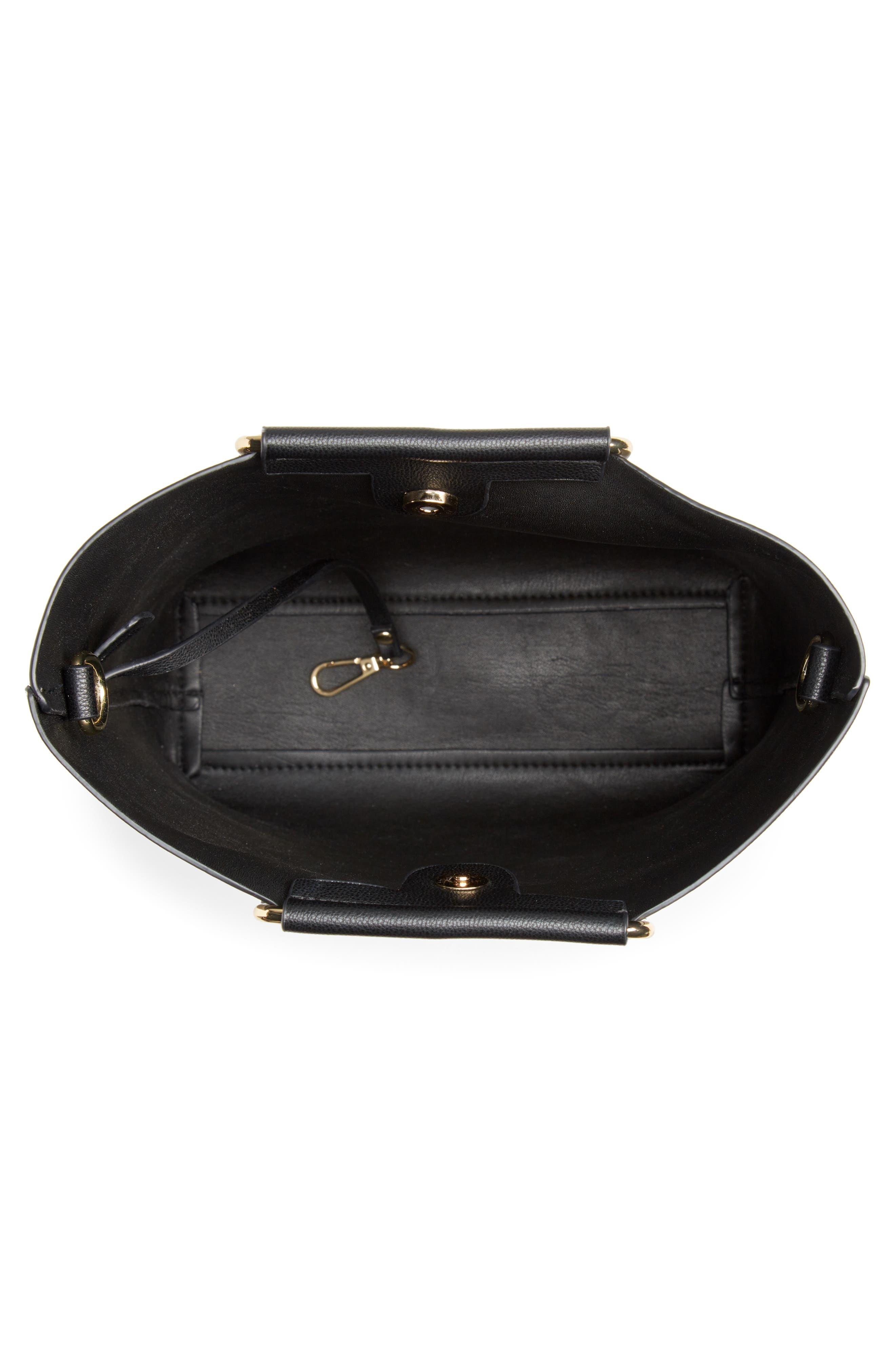 TROUVÉ, Payton Convertible Faux Leather Tote, Alternate thumbnail 4, color, BLACK