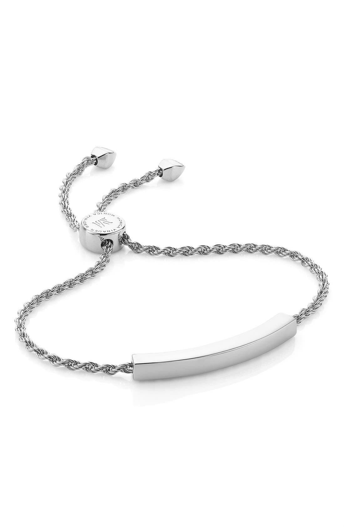 MONICA VINADER, Engravable Linear Friendship Chain Bracelet, Main thumbnail 1, color, SILVER