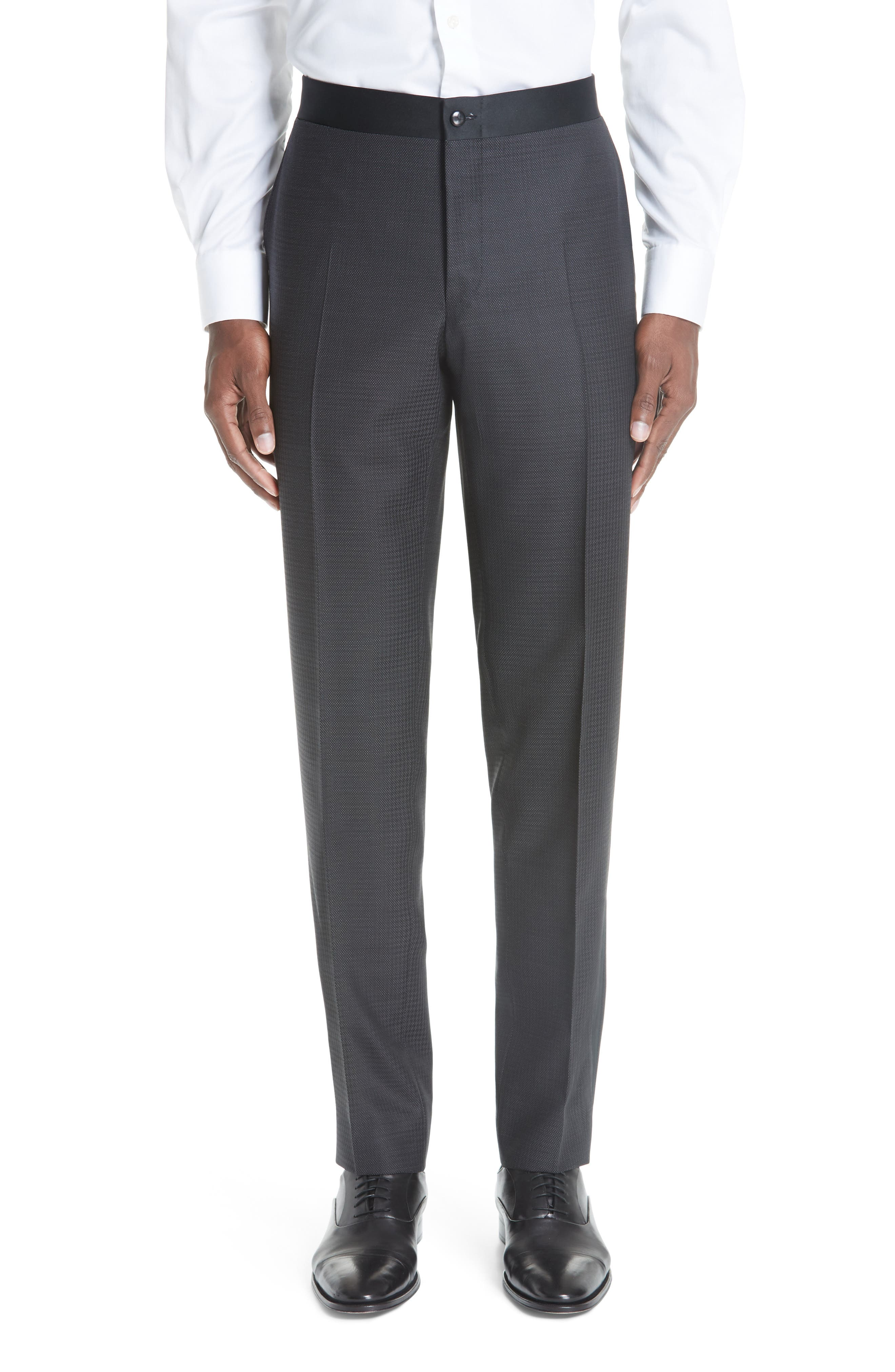 CANALI, Classic Fit Wool Tuxedo, Alternate thumbnail 6, color, CHARCOAL
