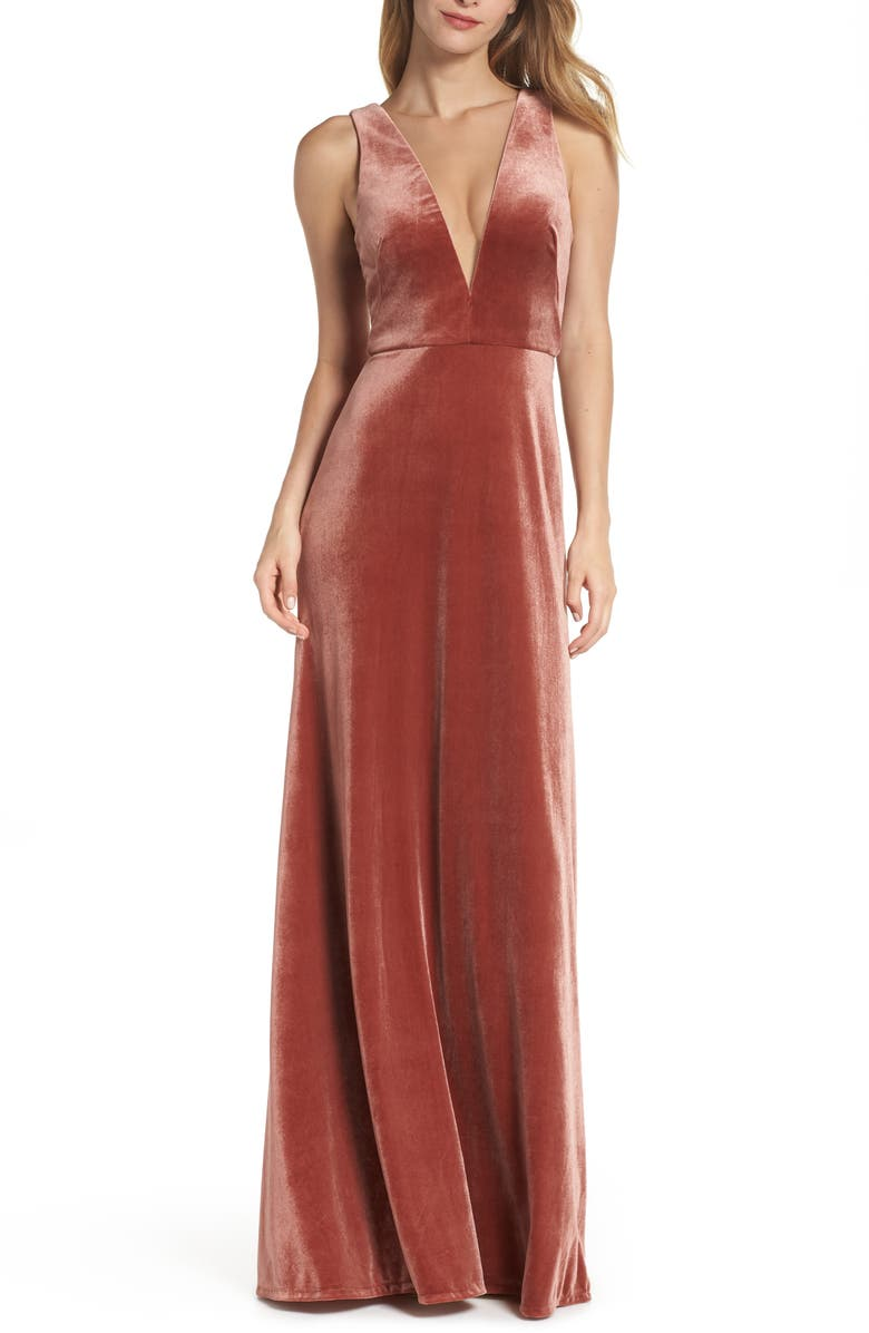 Jenny Yoo Logan Plunging V Neck Velvet Gown Nordstrom