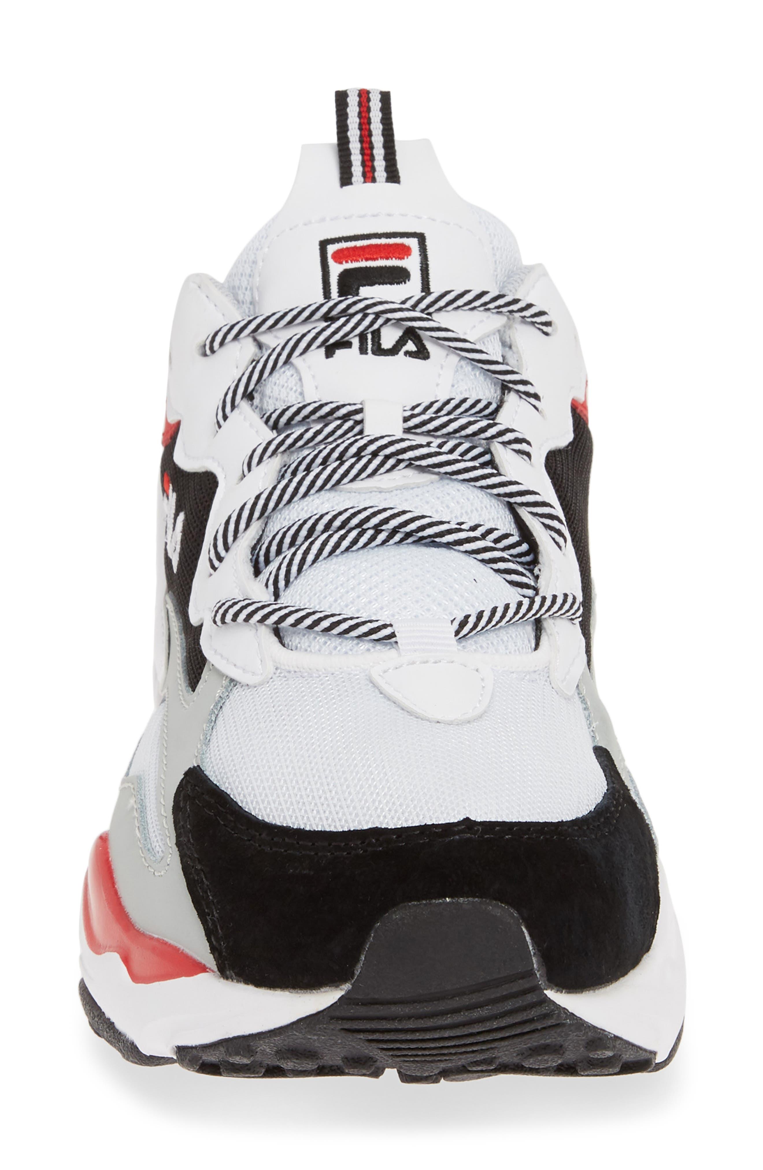 FILA, Ray Tracer Sneaker, Alternate thumbnail 4, color, WHITE/ BLACK