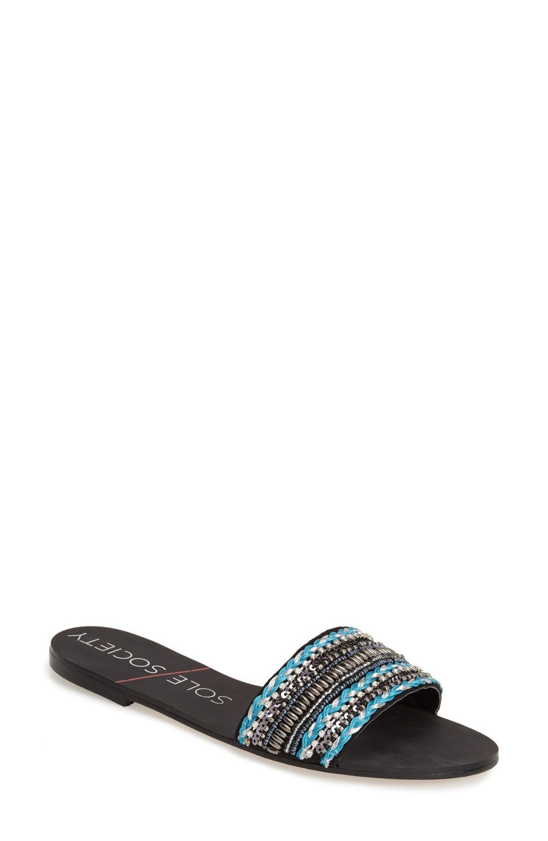 SOLE SOCIETY 'Eliana' Slide Sandal, Main, color, 001