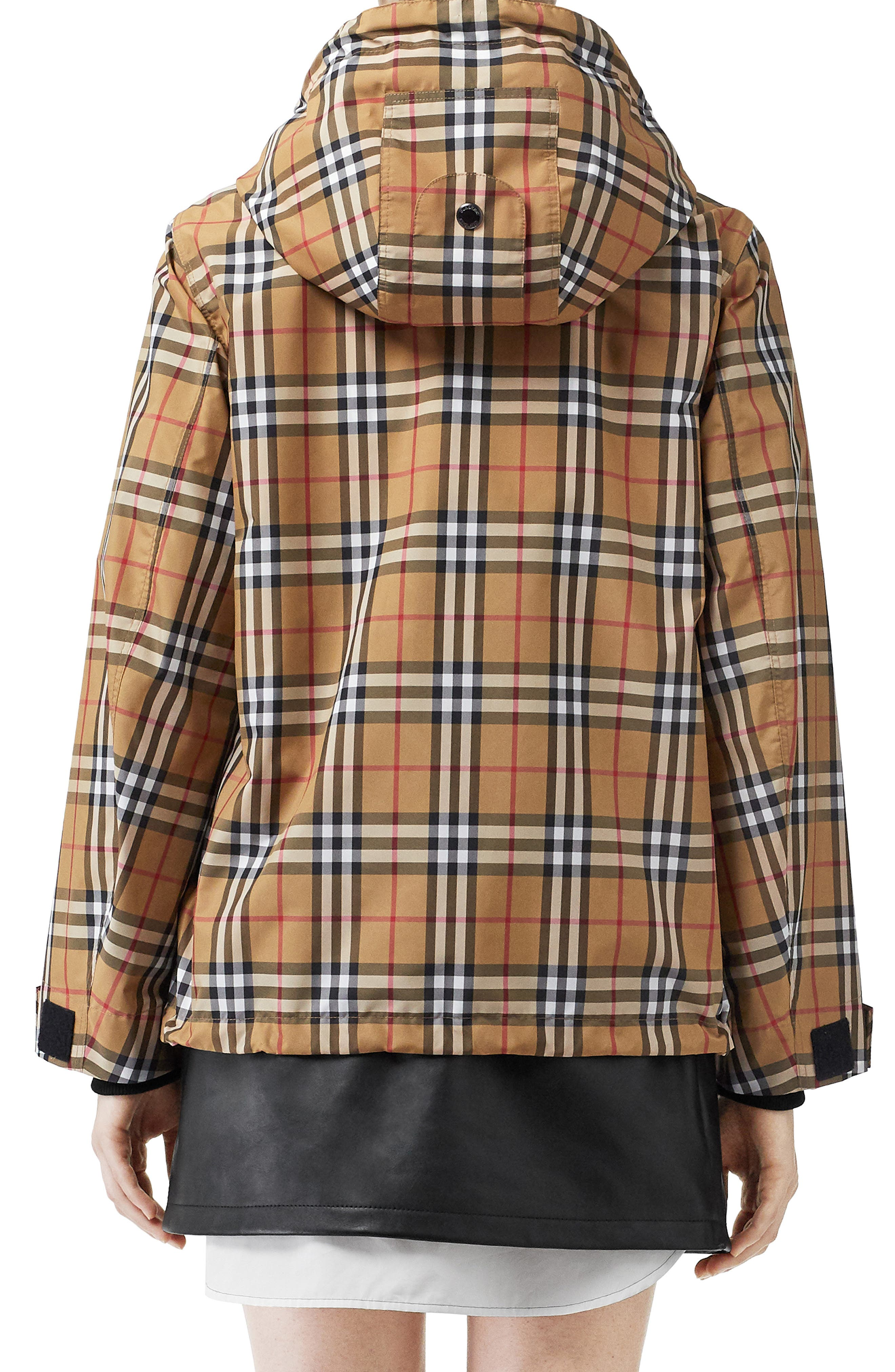 BURBERRY, Winchester Vintage Check Hooded Rain Jacket, Alternate thumbnail 2, color, ANTIQUE YEL IP CHK