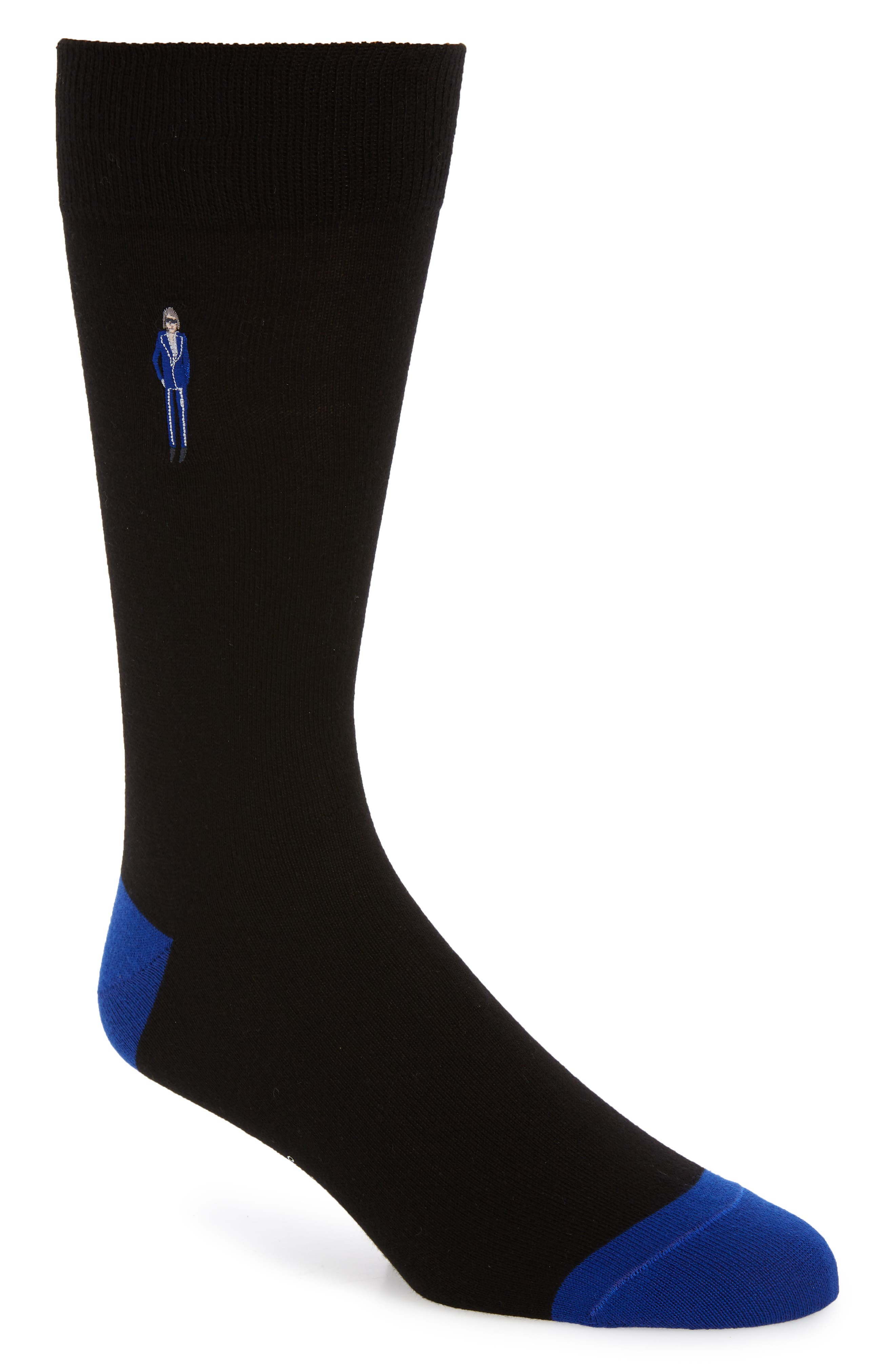 PAUL SMITH, Embroidered People Socks, Main thumbnail 1, color, BLACK