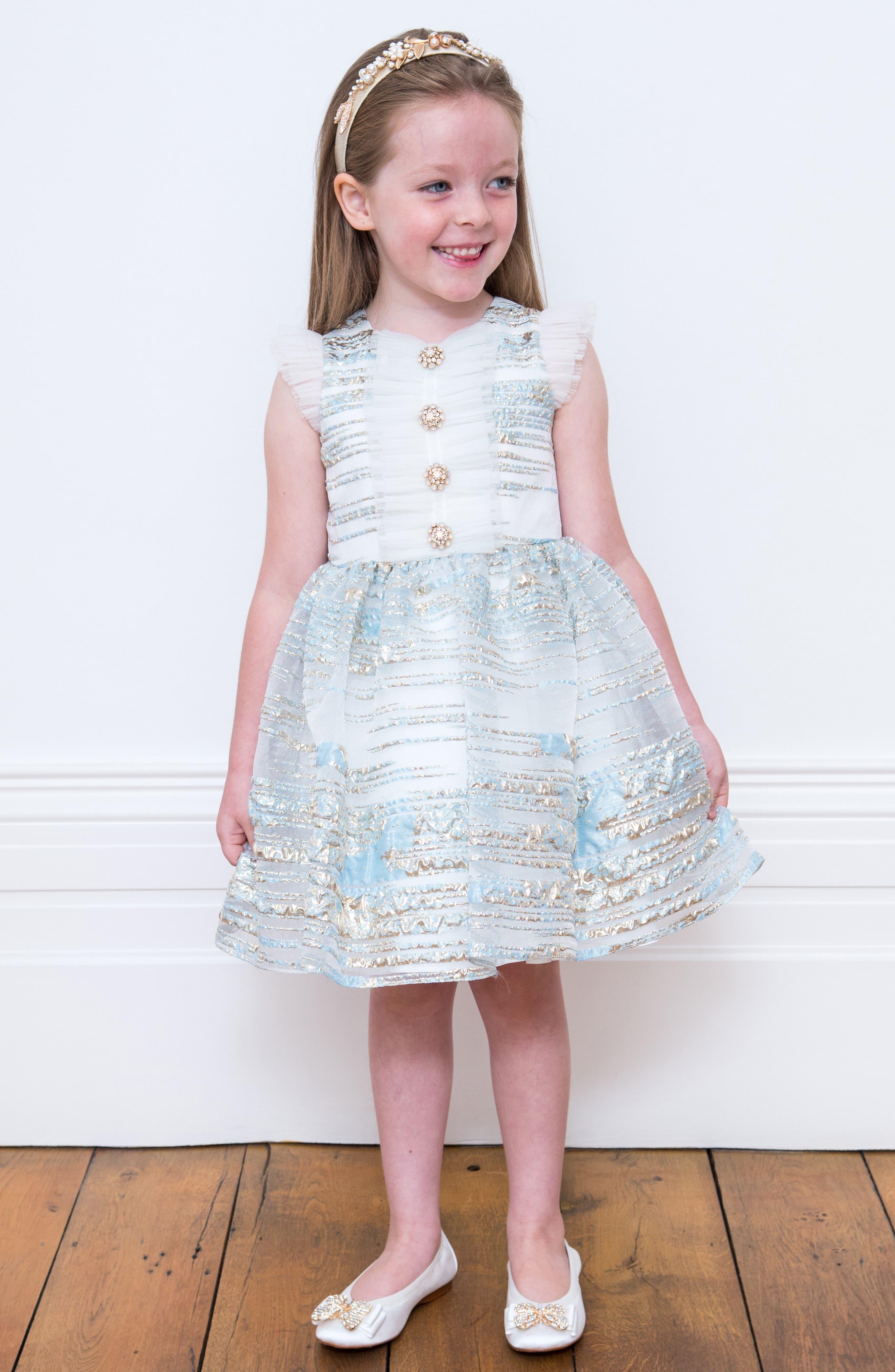 DAVID CHARLES, Metallic Stripe Organza Party Dress, Alternate thumbnail 3, color, BLUE