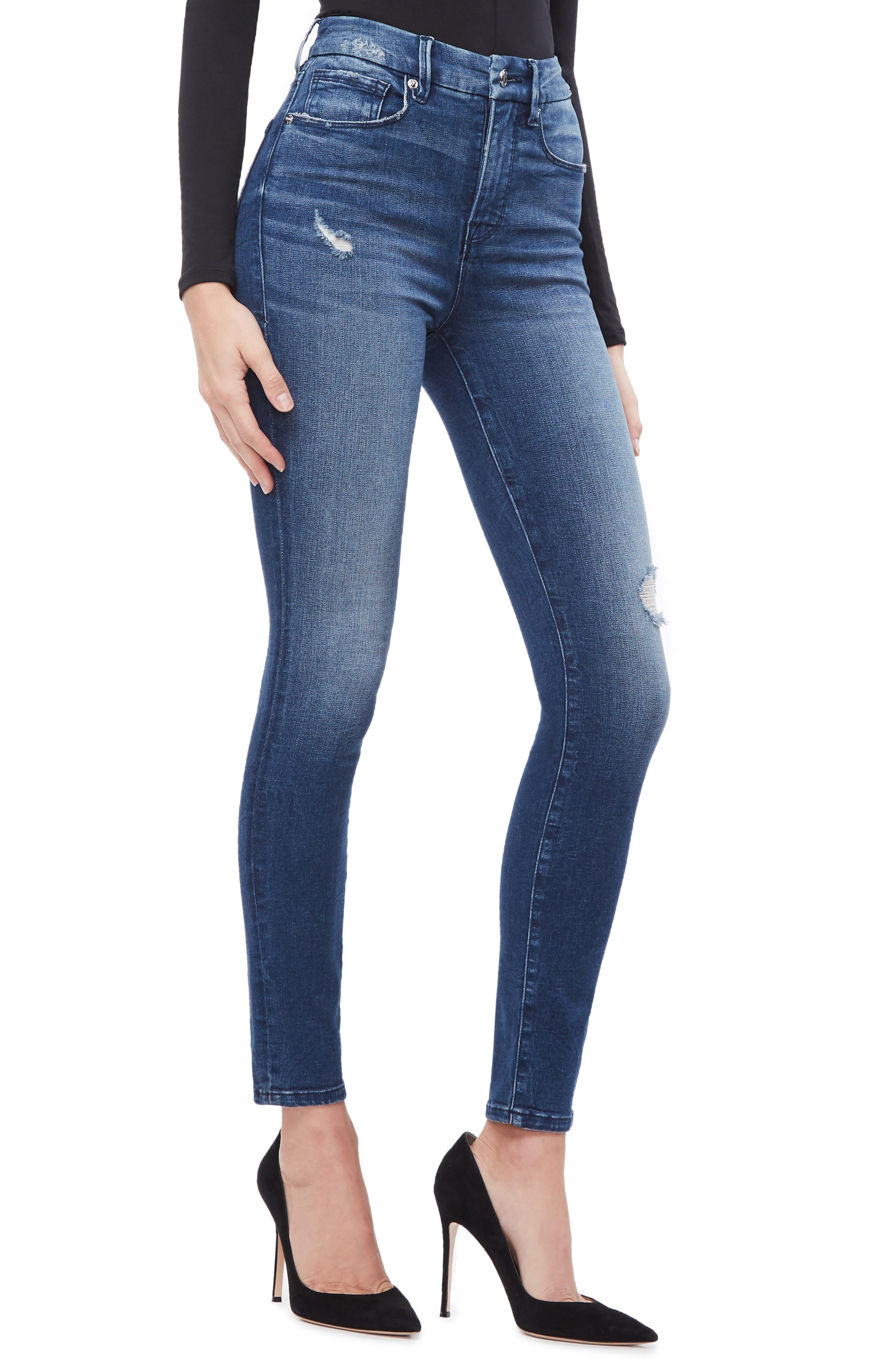 GOOD AMERICAN, Good Waist High Waist Skinny Jeans, Alternate thumbnail 5, color, BLUE249