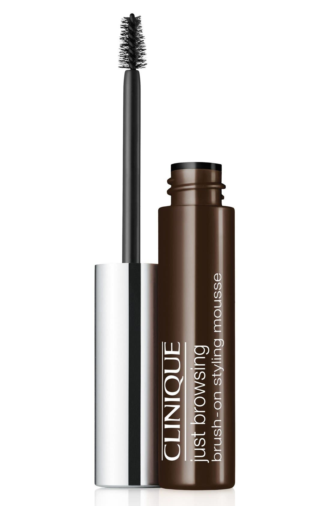 CLINIQUE, Just Browsing Brush-On Styling Mousse, Main thumbnail 1, color, BLACK/ BROWN