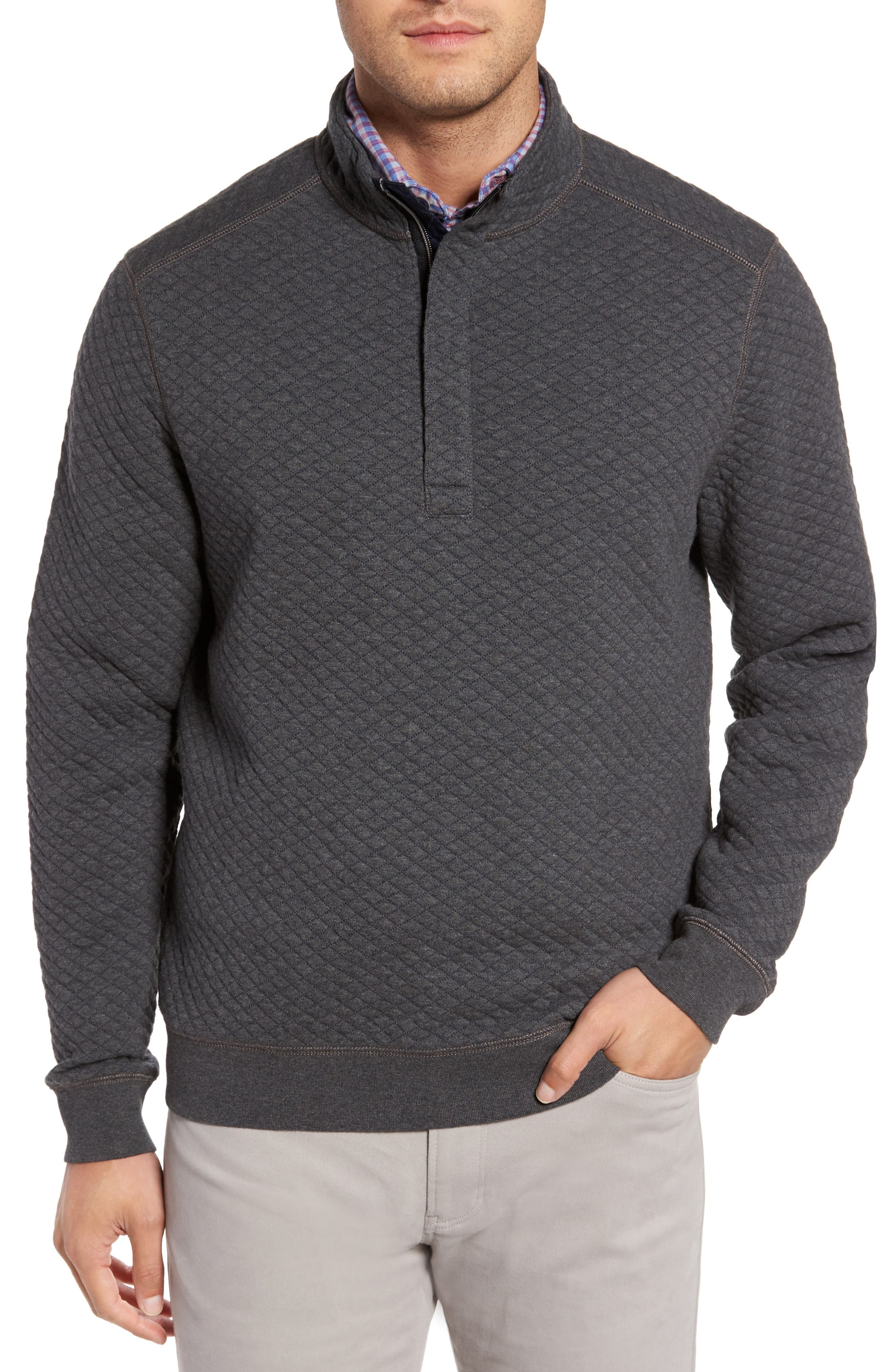 TOMMY BAHAMA, Quiltessential Standard Fit Quarter Zip Pullover, Main thumbnail 1, color, CHARCOAL HEATHER