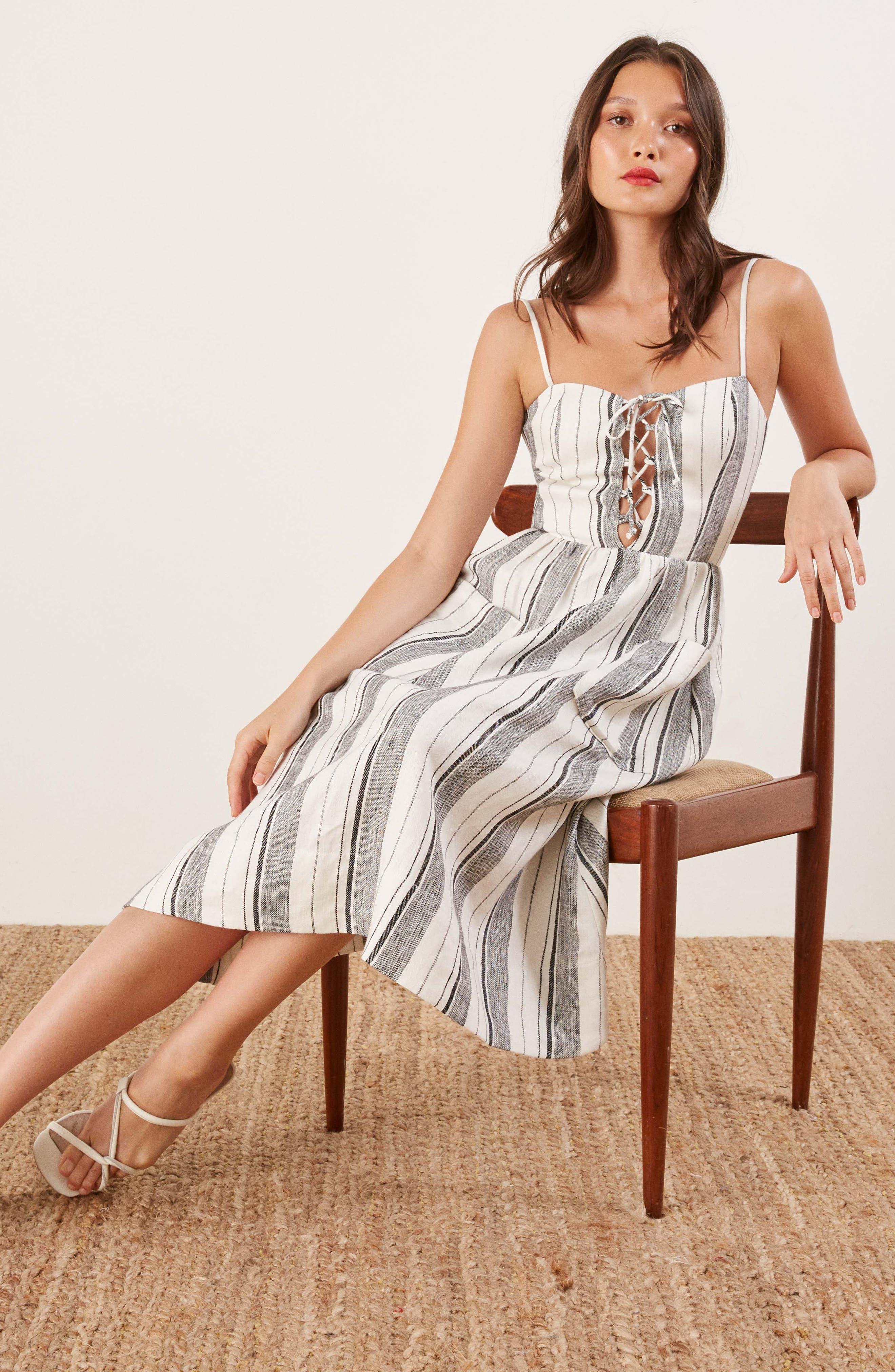 REFORMATION, Ellen Linen Midi Dress, Alternate thumbnail 2, color, 100