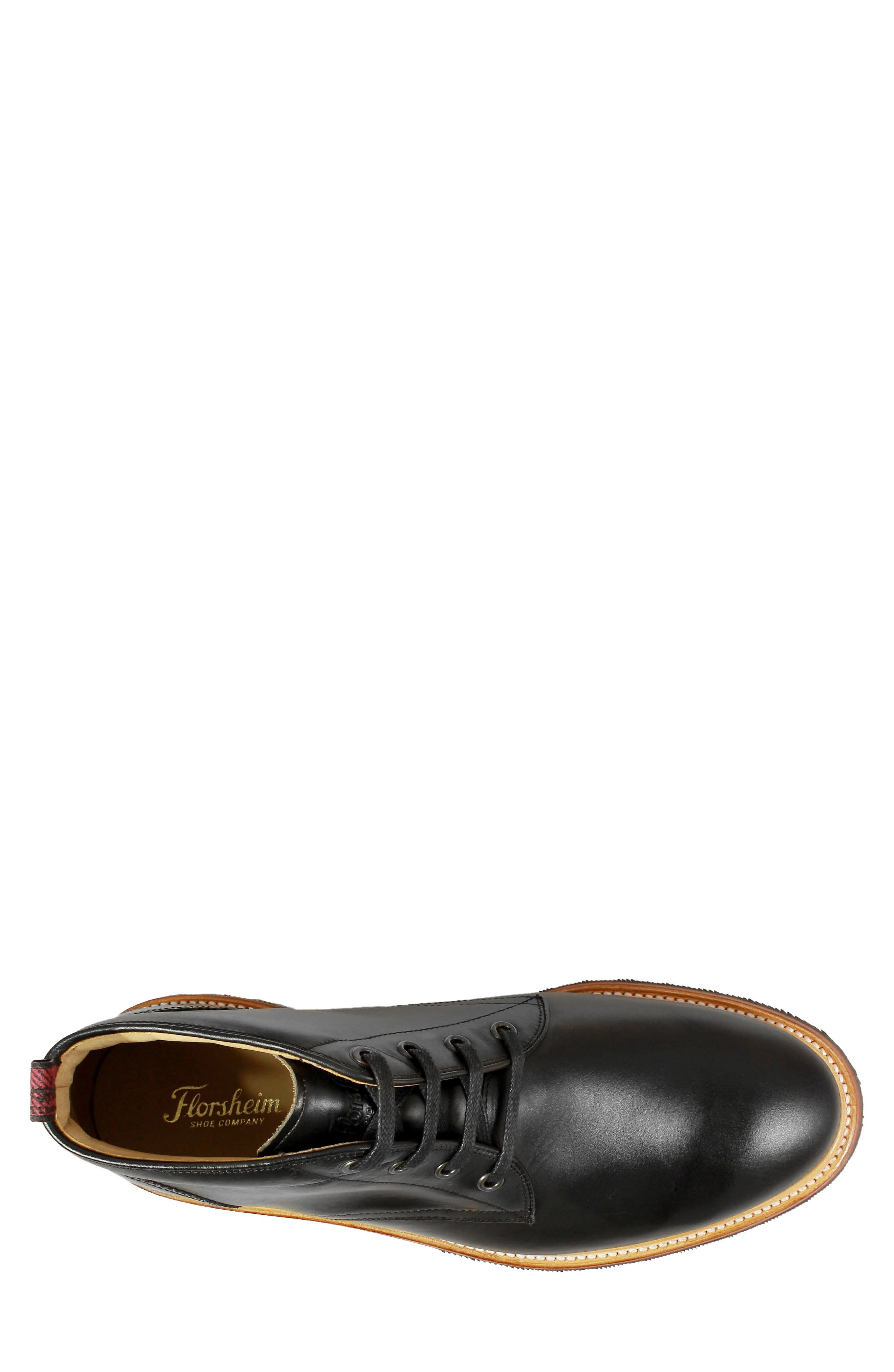 FLORSHEIM, Foundry Leather Boot, Alternate thumbnail 5, color, BLACK LEATHER