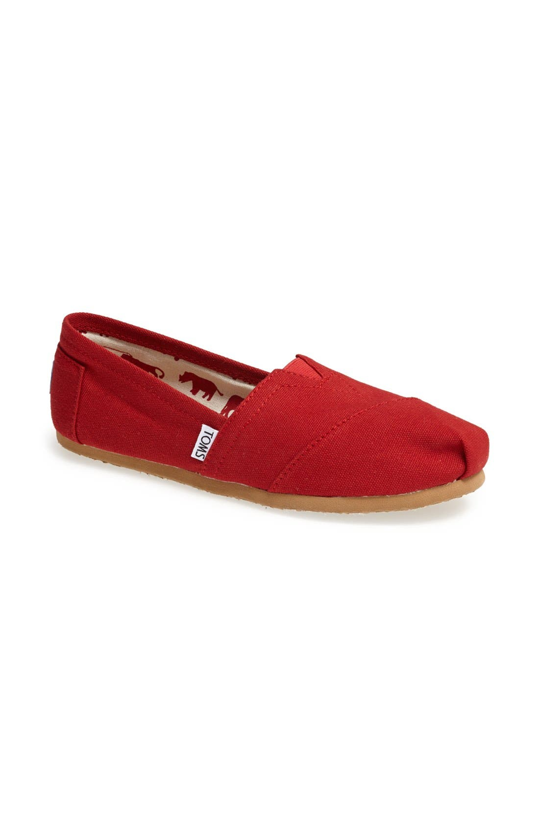 TOMS, Classic Canvas Slip-On, Alternate thumbnail 6, color, RED