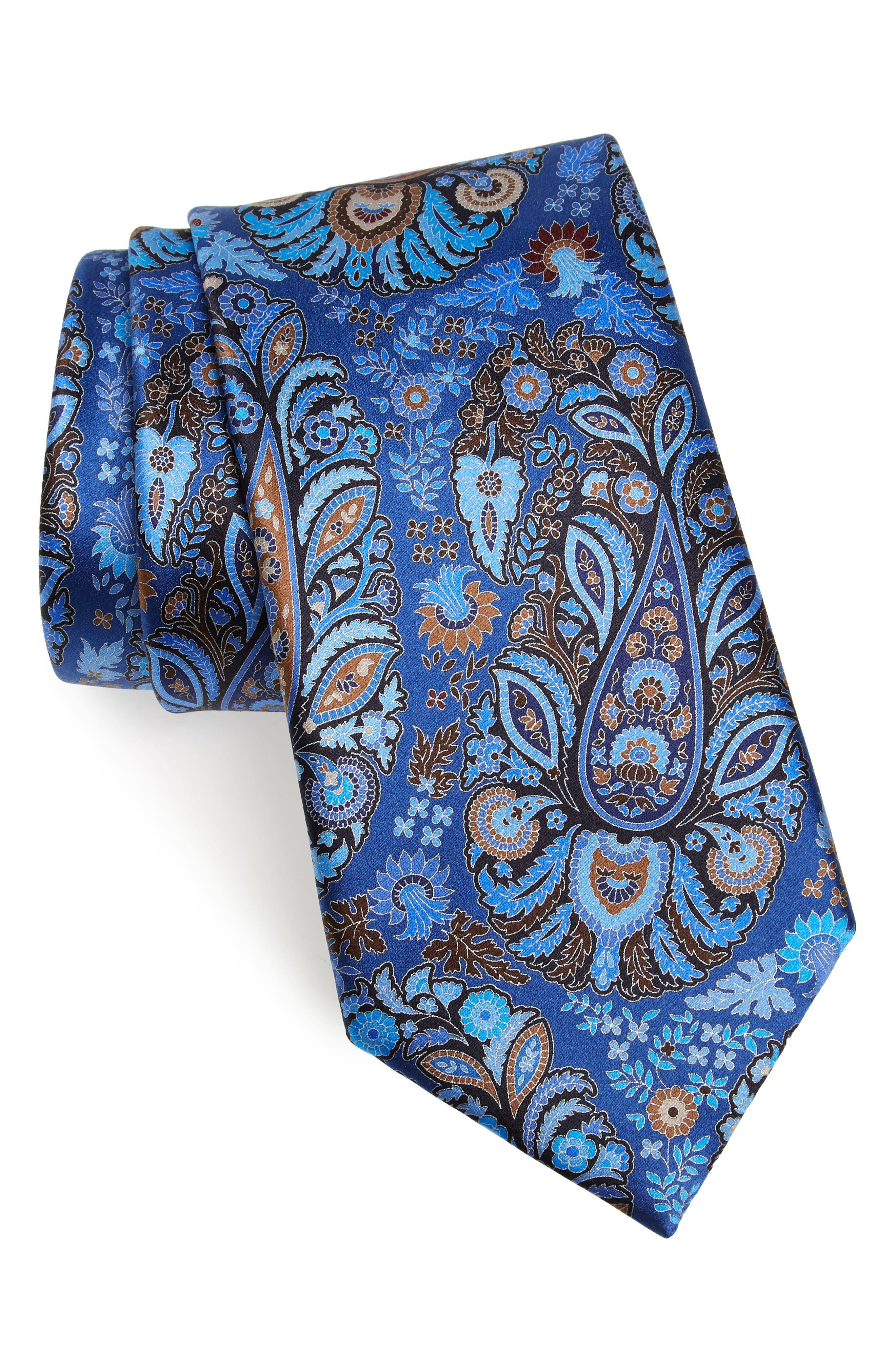 ERMENEGILDO ZEGNA, Quindici Paisley Silk Tie, Main thumbnail 1, color, BLUE