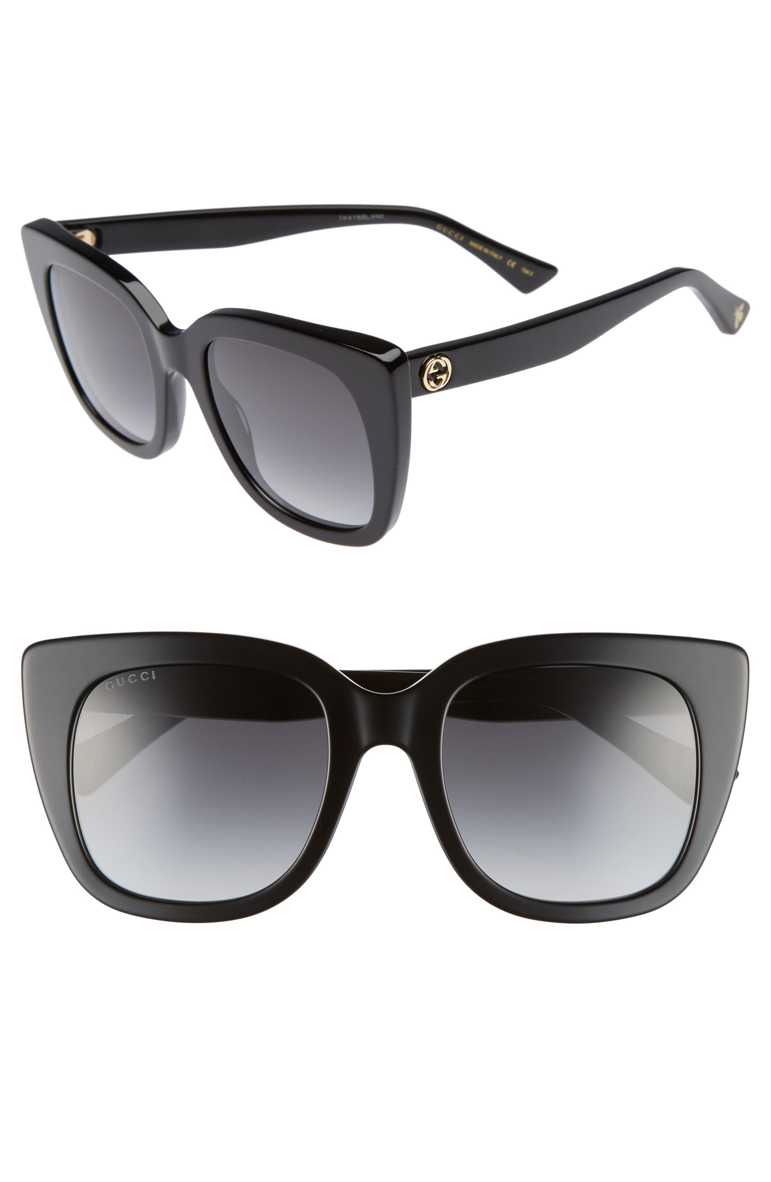 GUCCI, 51mm Cat Eye Sunglasses, Main thumbnail 1, color, BLACK