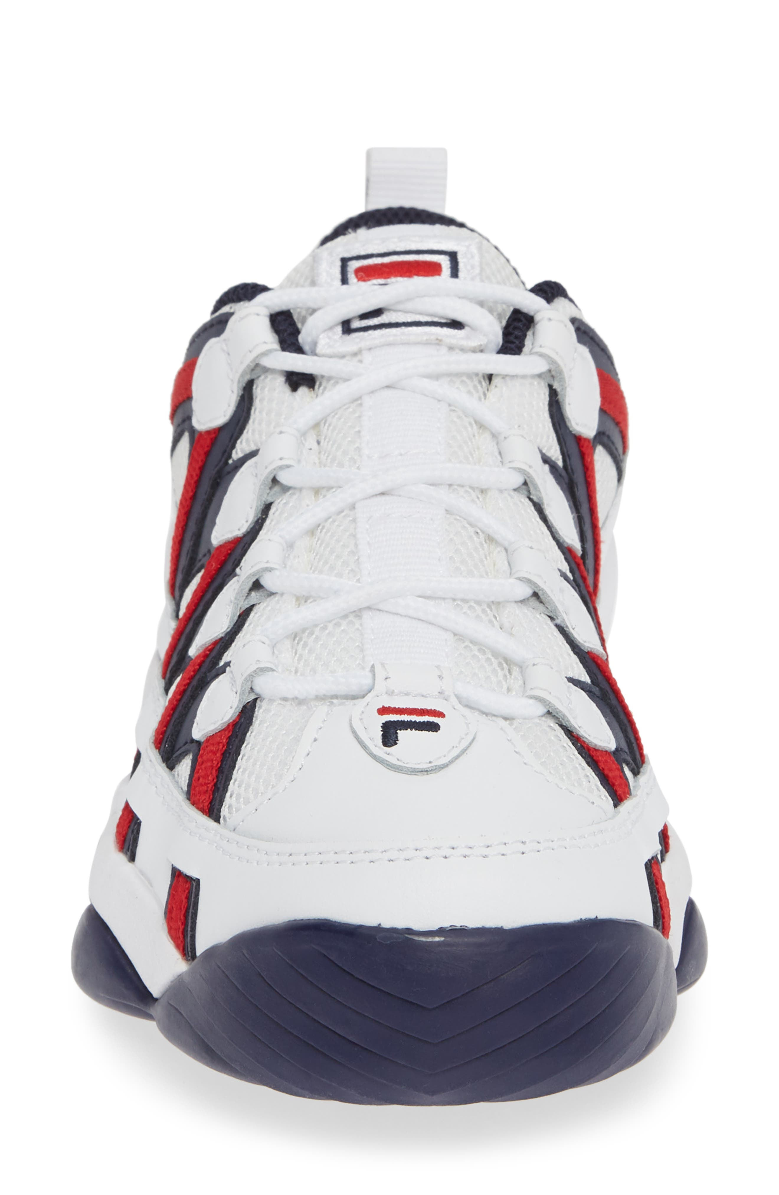 FILA, Spaghetti Low Sneaker, Alternate thumbnail 4, color, WHITE/ FILA NAVY/ FILA RED