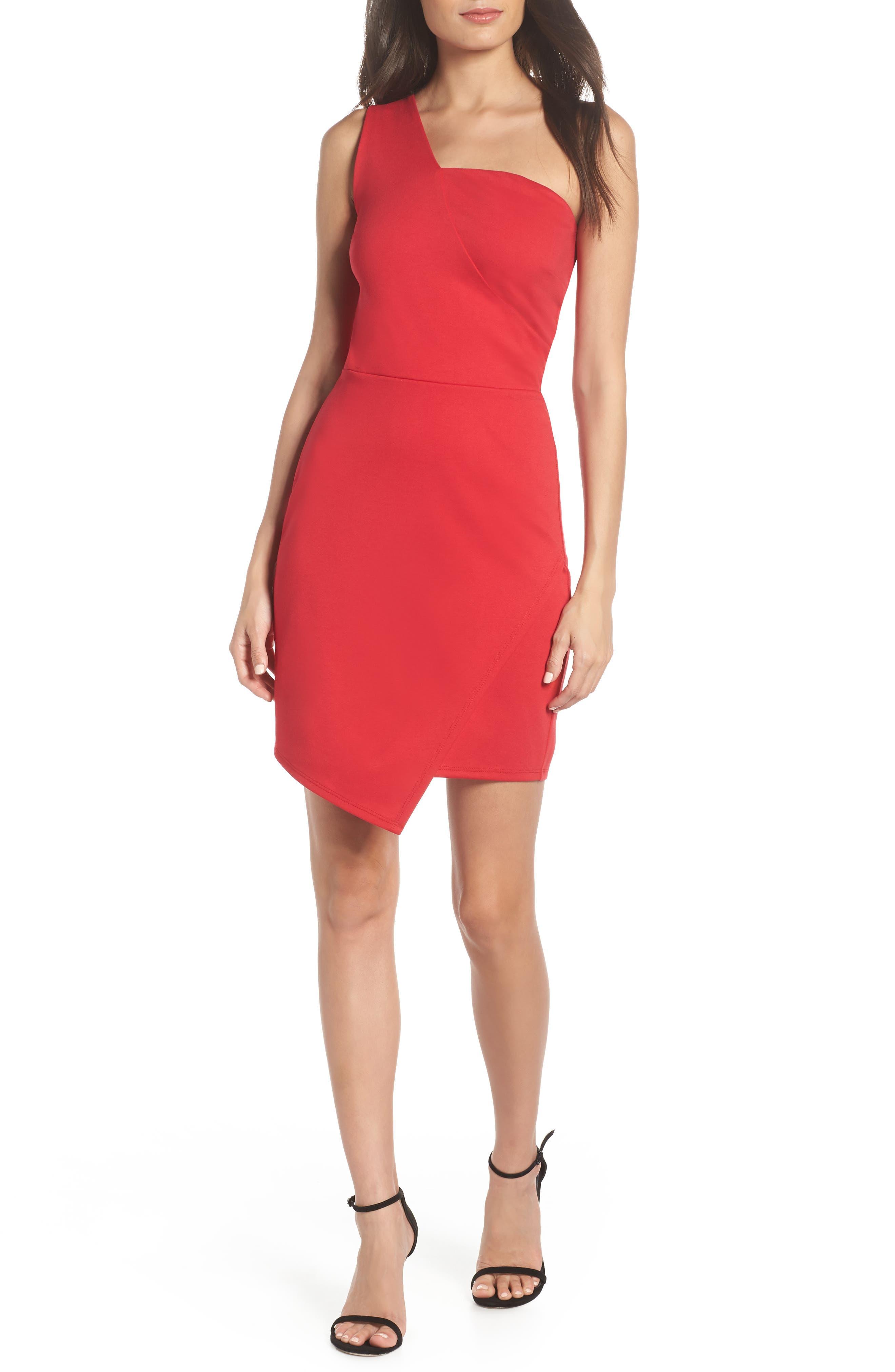 Fraiche By J One Shoulder Jersey Dress, Red