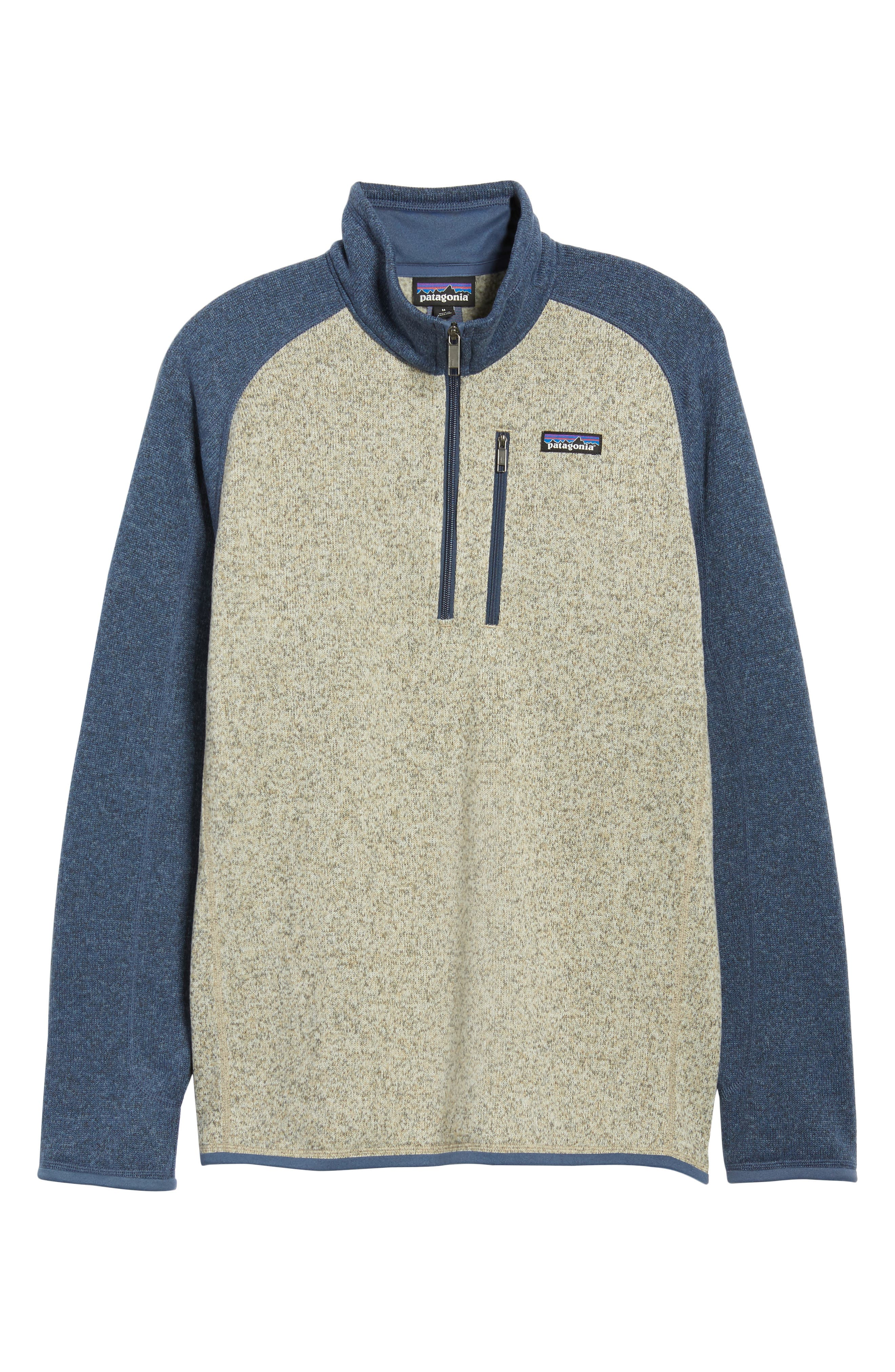 PATAGONIA, Better Sweater Quarter Zip Pullover, Alternate thumbnail 7, color, BLEACHED STONE W/DOLOMITE BLUE