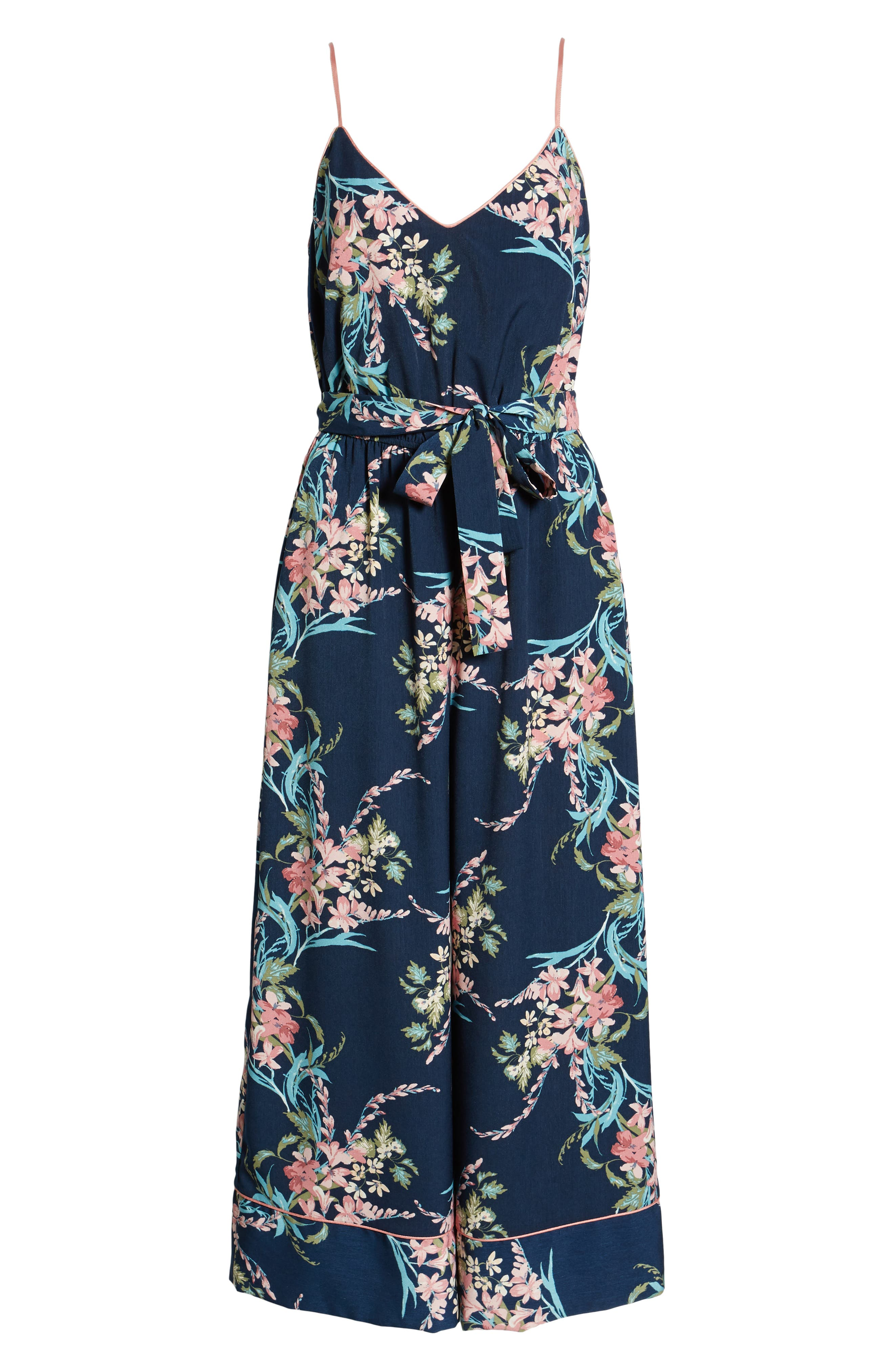 LEITH, Piped Cami Jumpsuit, Alternate thumbnail 8, color, NAVY PEACOAT FEM FLORAL