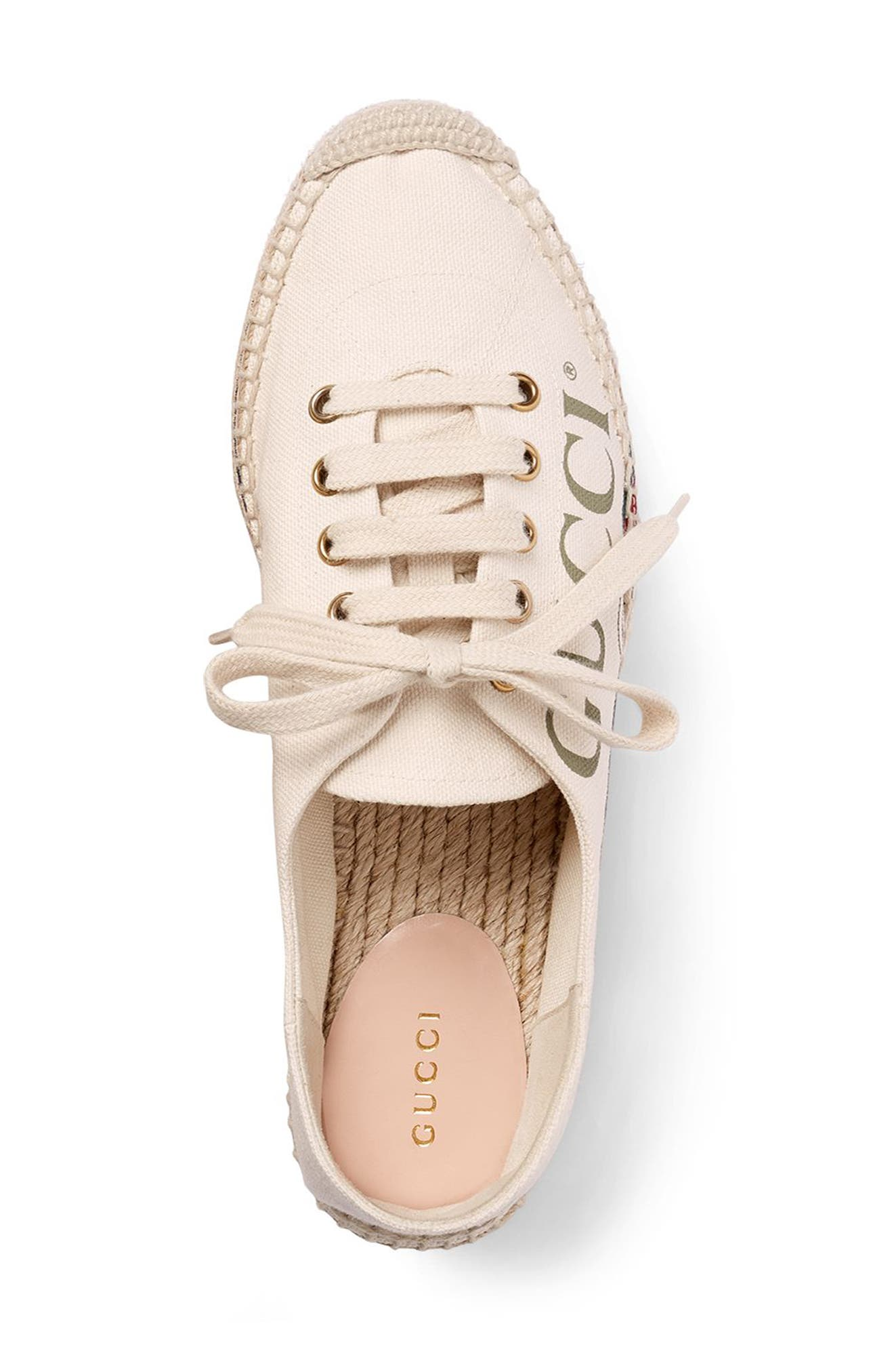 GUCCI, Convertible Logo Espadrille, Alternate thumbnail 3, color, IVORY