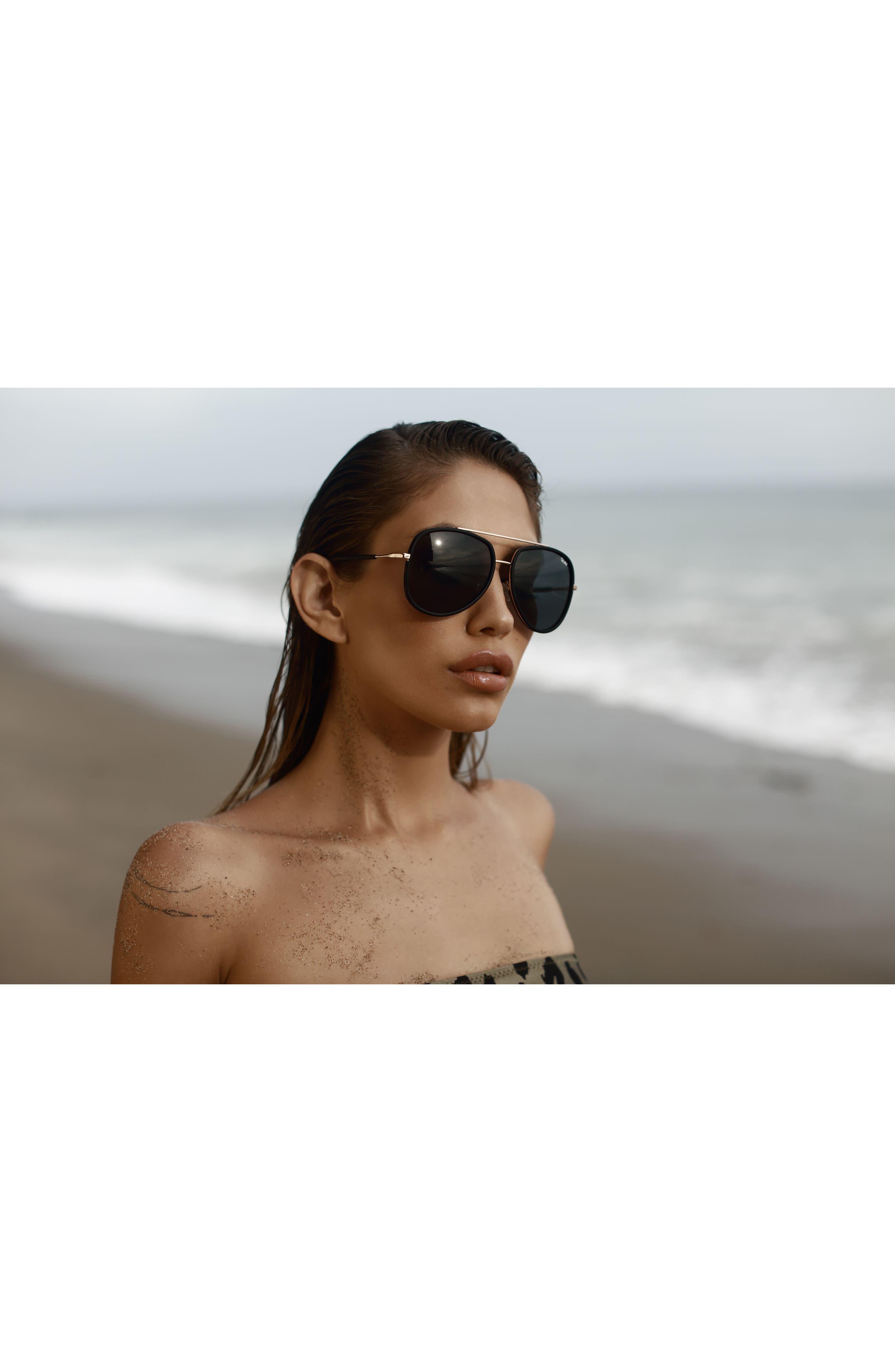 QUAY AUSTRALIA, 'Needing Fame' 65mm Aviator Sunglasses, Alternate thumbnail 2, color, BLACK/ SMOKE
