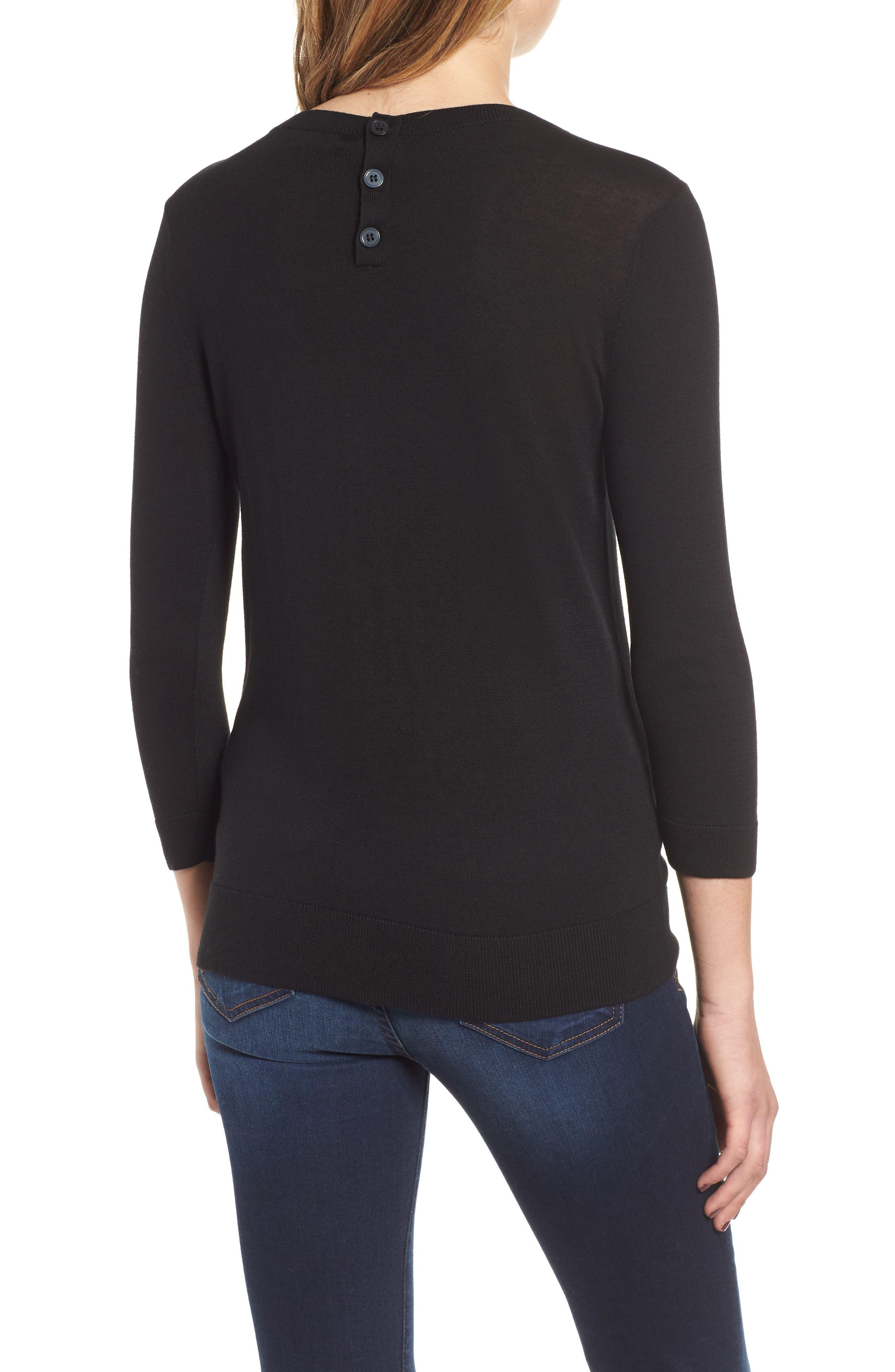 1901, Back Button Crewneck Sweater, Alternate thumbnail 2, color, BLACK