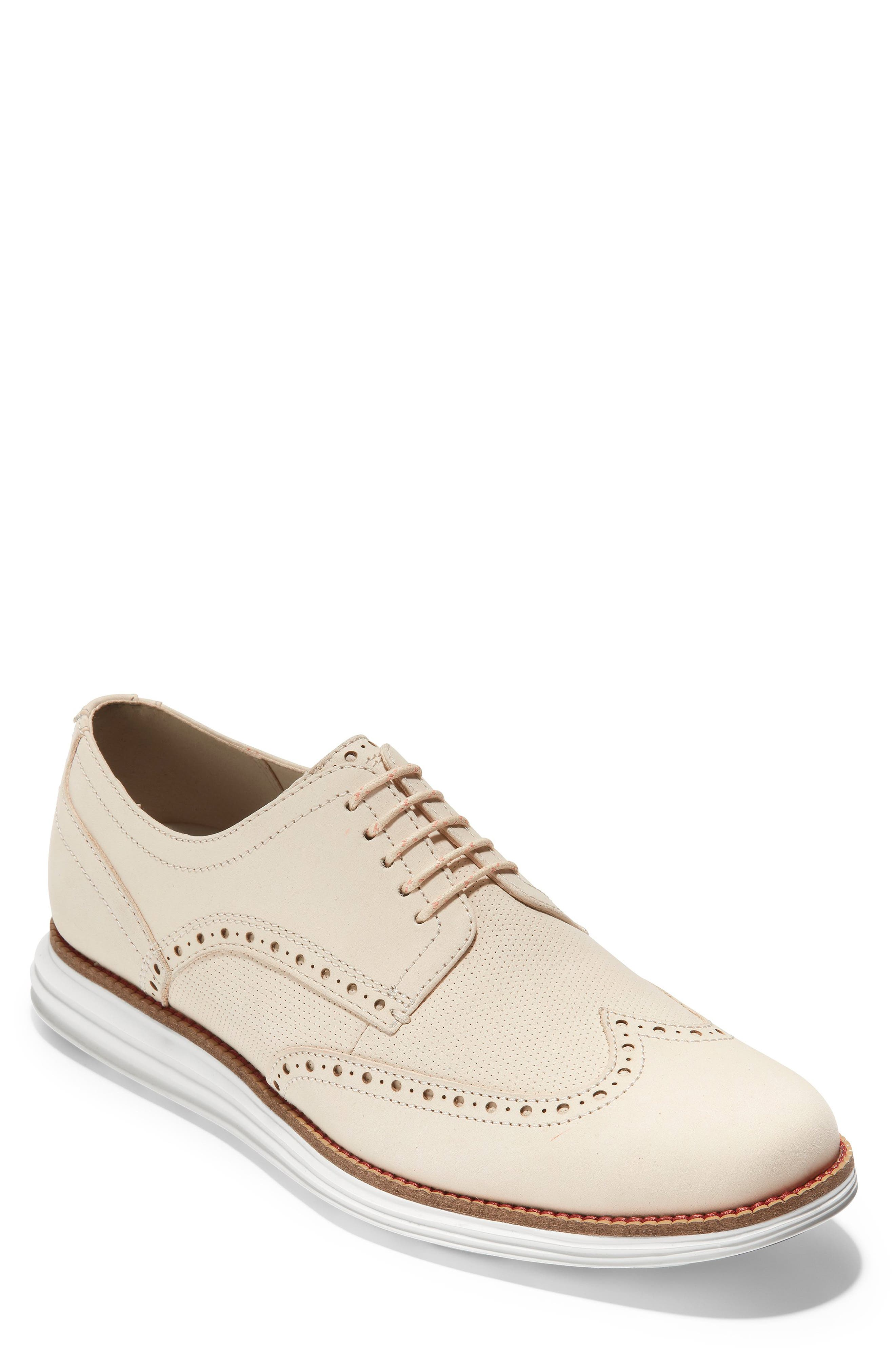 COLE HAAN, Original Grand Wingtip, Main thumbnail 1, color, SAND/ OPTIC WHITE NUBUCK