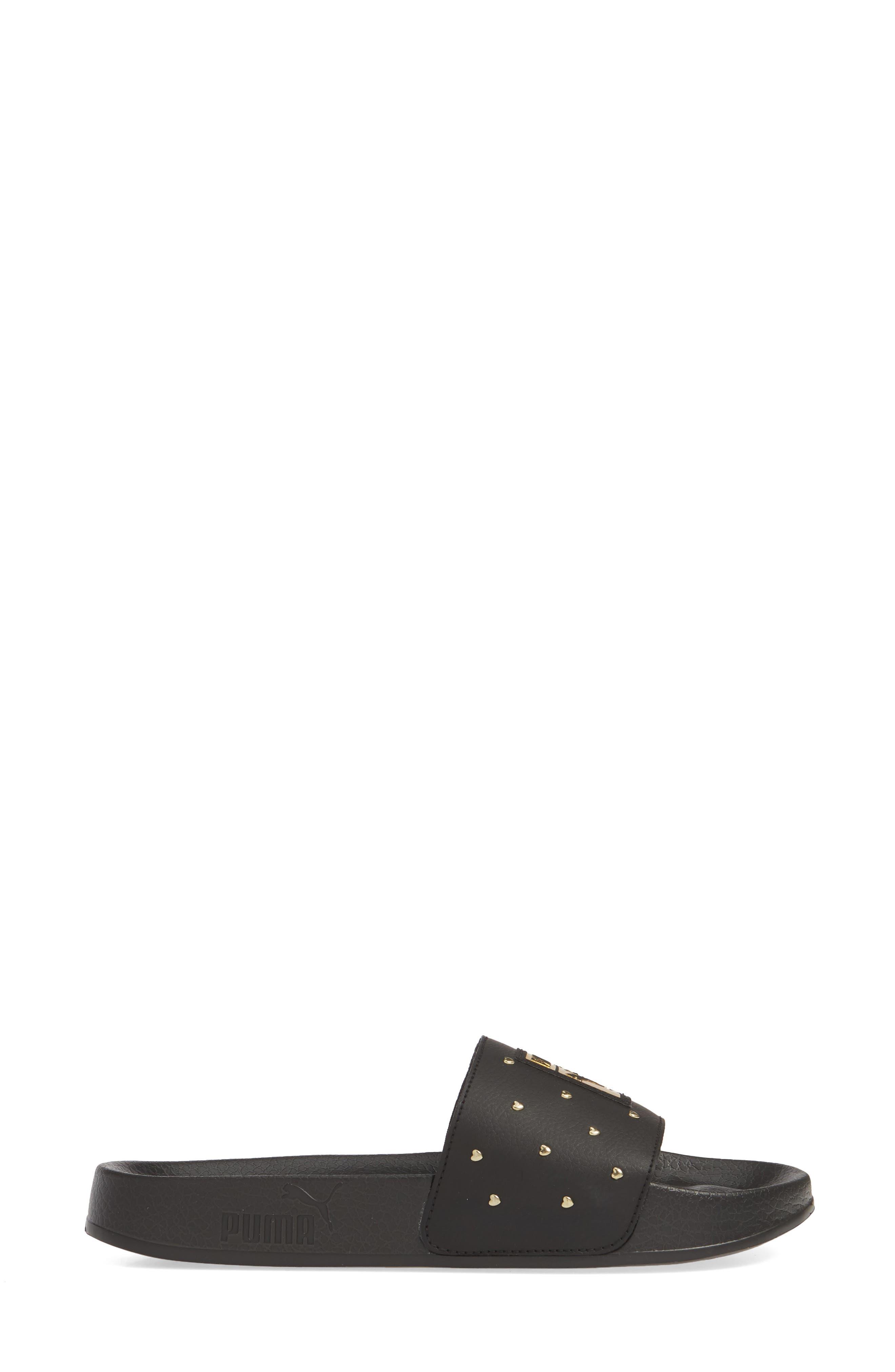 PUMA, Leadcat Studs Sport Slide, Alternate thumbnail 3, color, BLACK/ TEAM GOLD