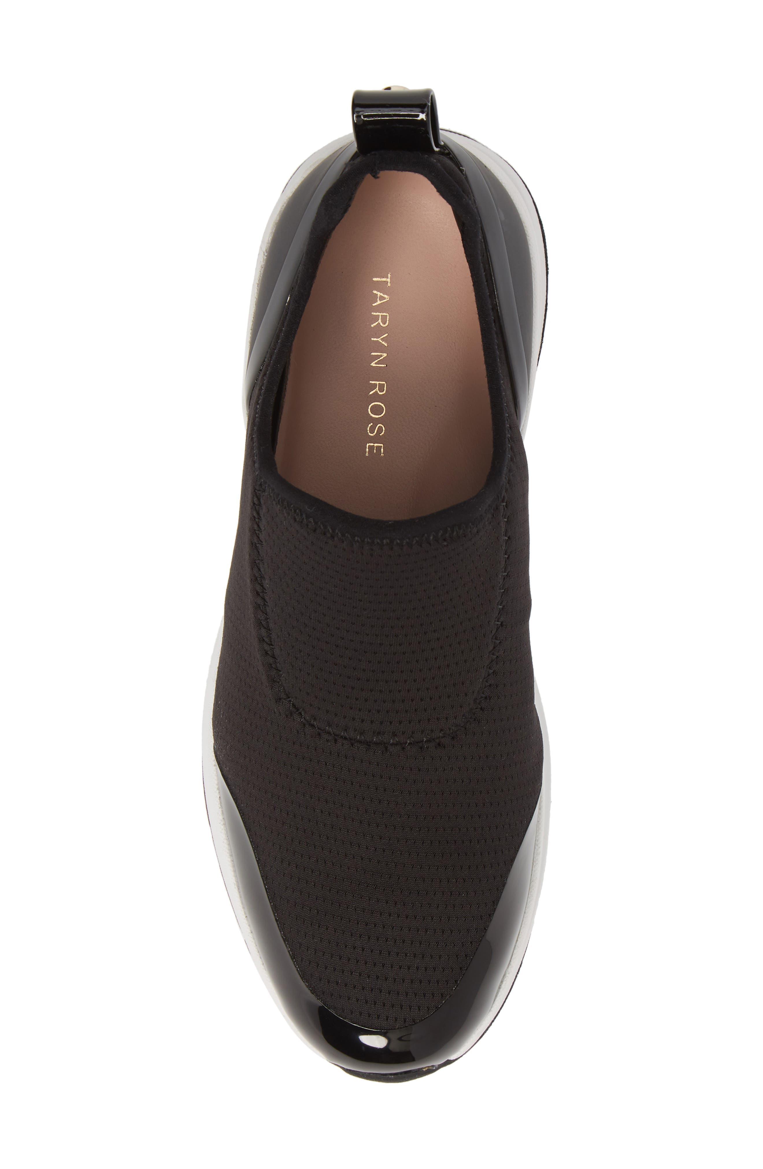 TARYN ROSE, Zabella Slip-On Sneaker, Alternate thumbnail 5, color, BLACK STRETCH FABRIC