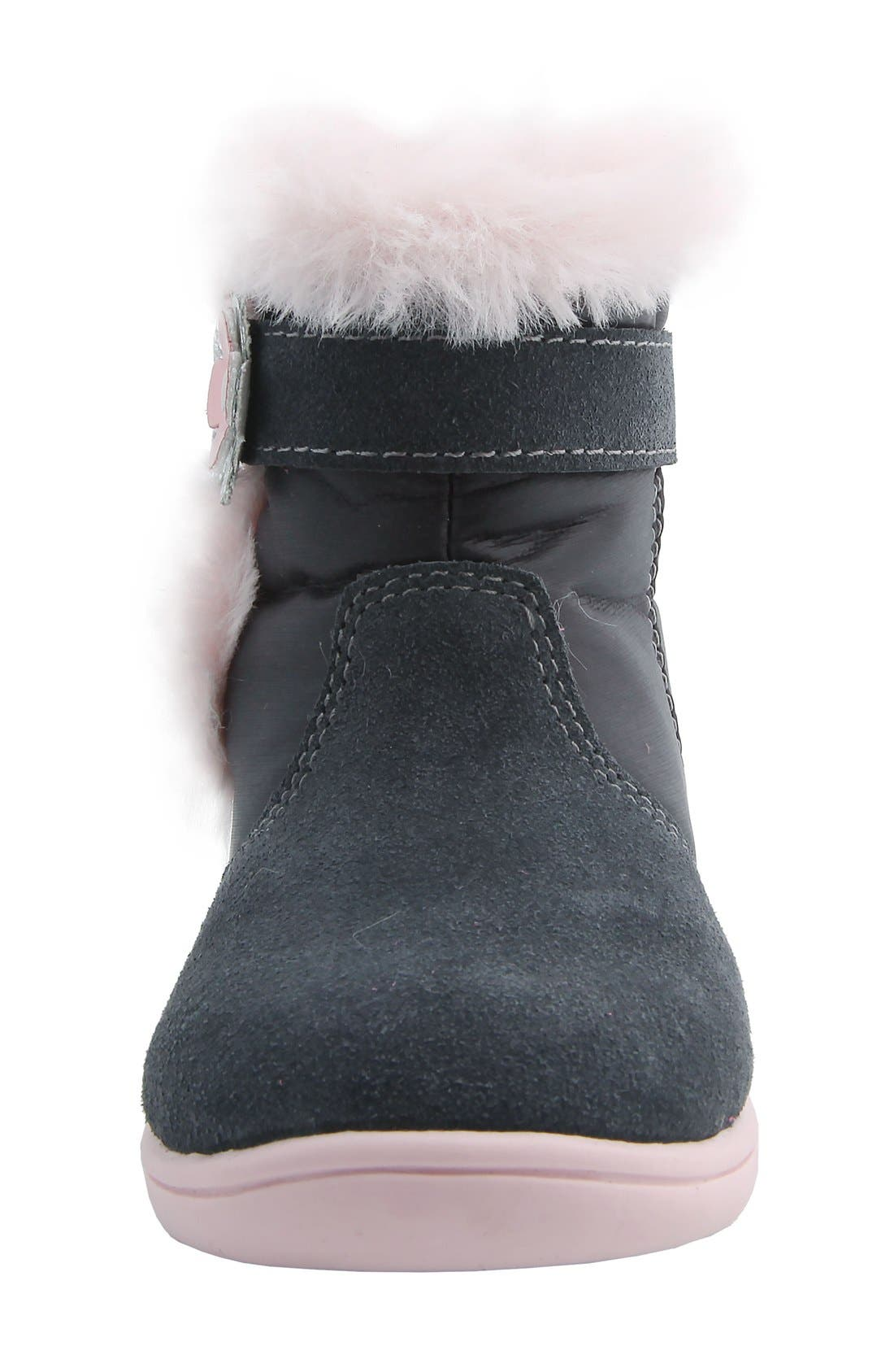 MOBILITY, Nina 'Anya' Faux Fur Bootie, Alternate thumbnail 4, color, GREY SUEDE