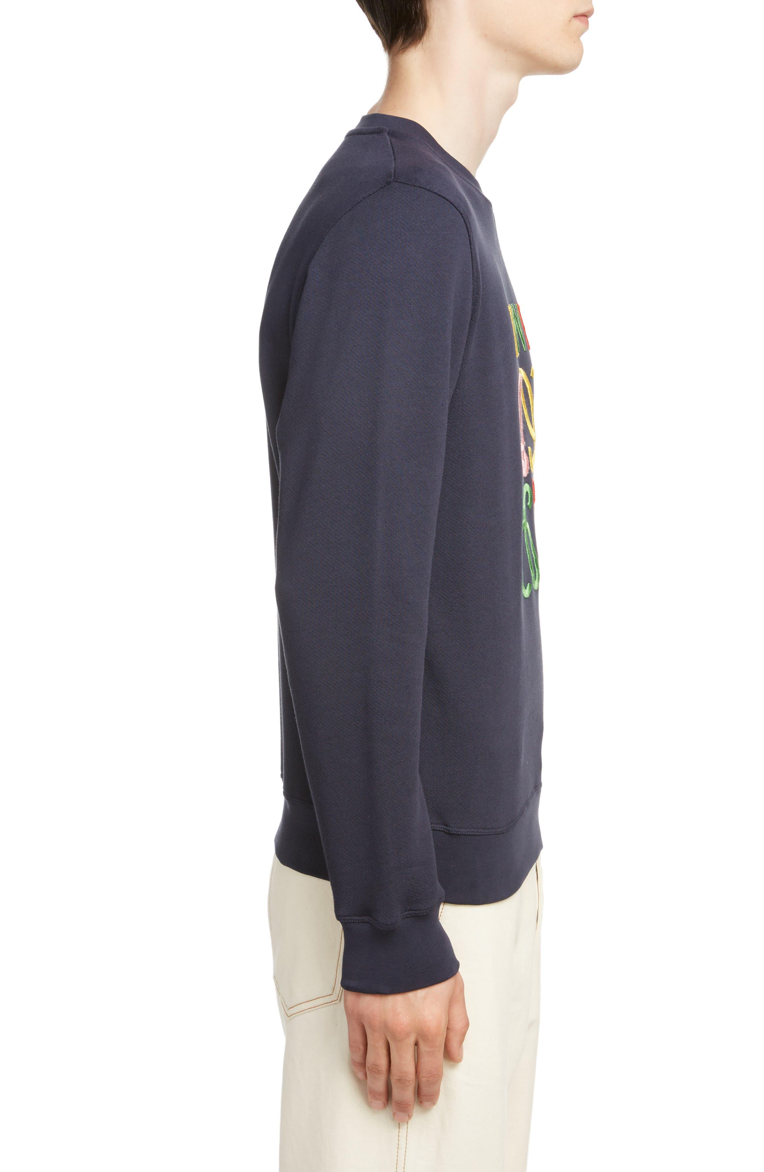 LOEWE, Anagram Sweatshirt, Alternate thumbnail 3, color, 5387-NAVY BLUE/ MULTICOLOR