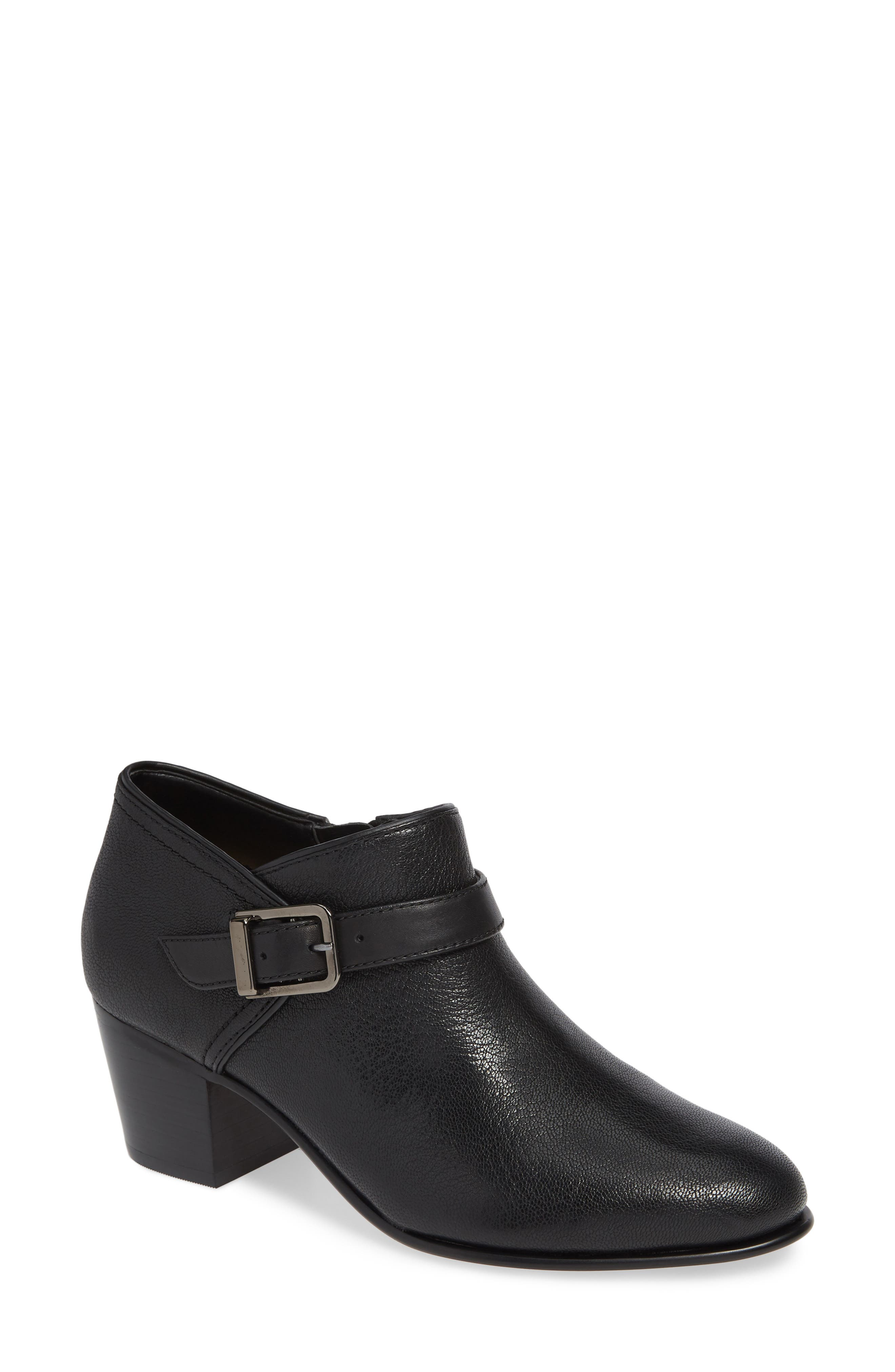 CLARKS<SUP>®</SUP>, Maypearl Milla Bootie, Main thumbnail 1, color, BLACK TUMBLED LEATHER