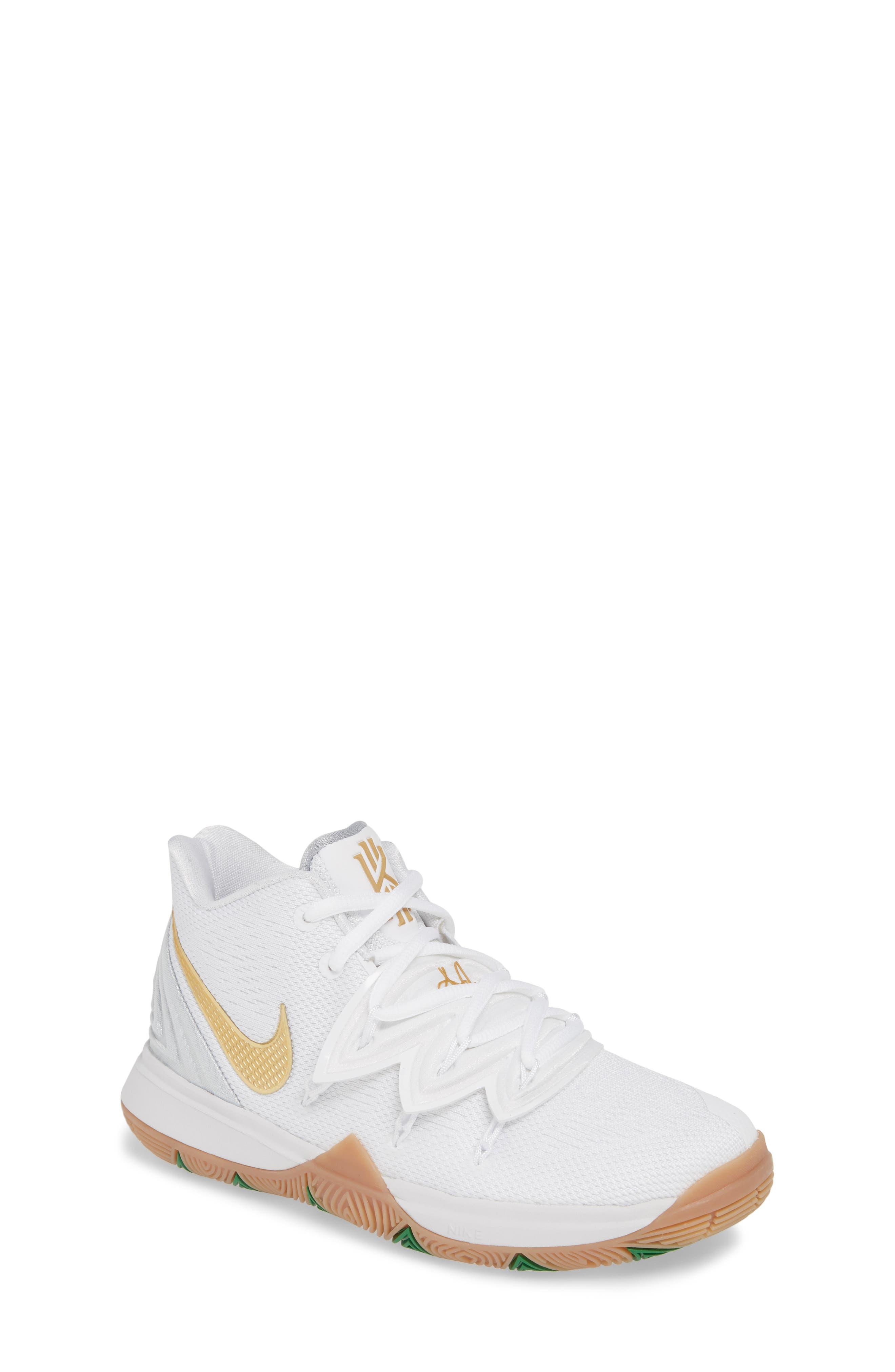 NIKE, Kyrie 5 Basketball Shoe, Main thumbnail 1, color, WHITE/ METALLIC GOLD-PLATINUM