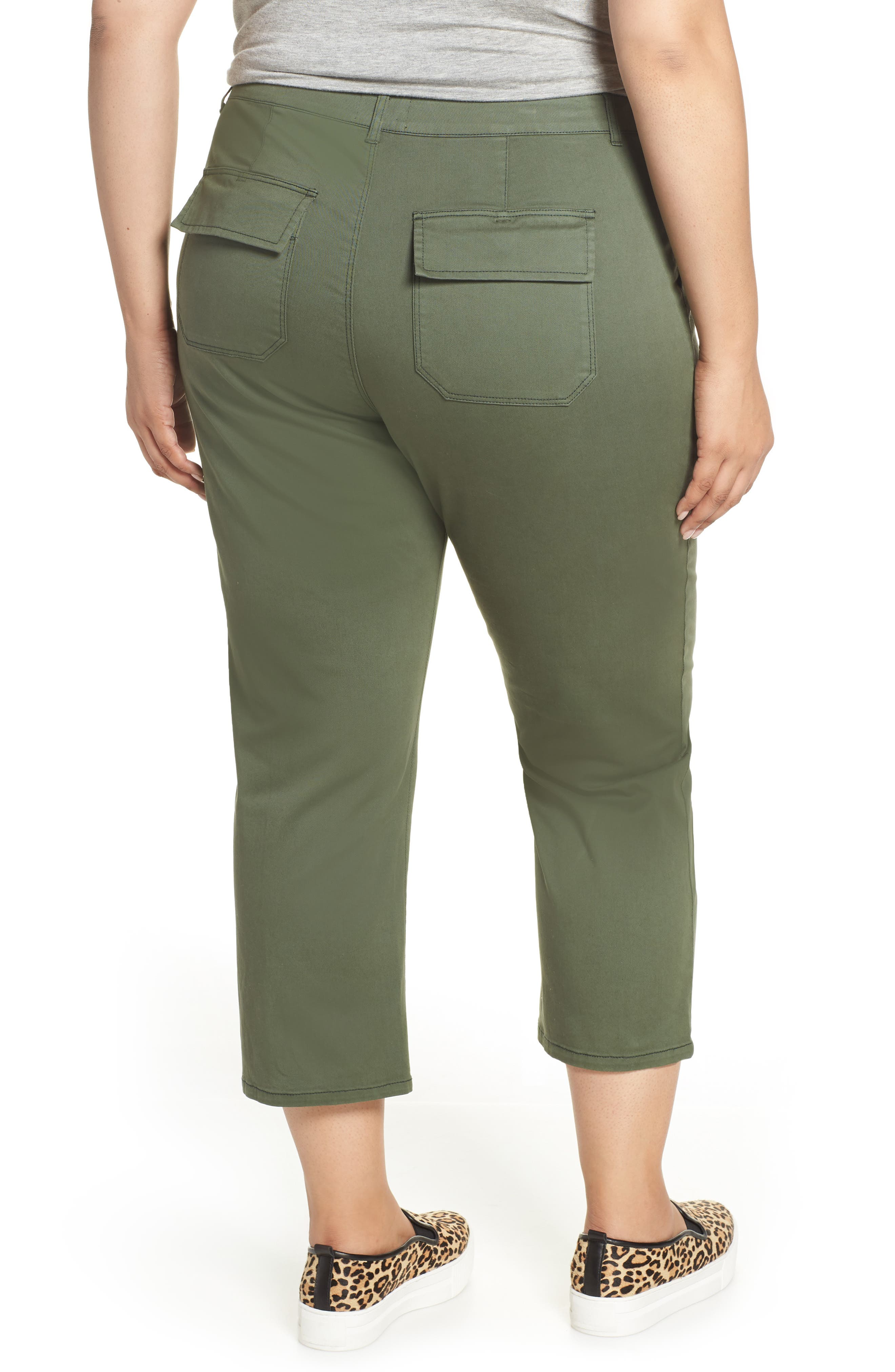 SANCTUARY, Peace Crop Chino Pants, Alternate thumbnail 2, color, PEACE GREEN