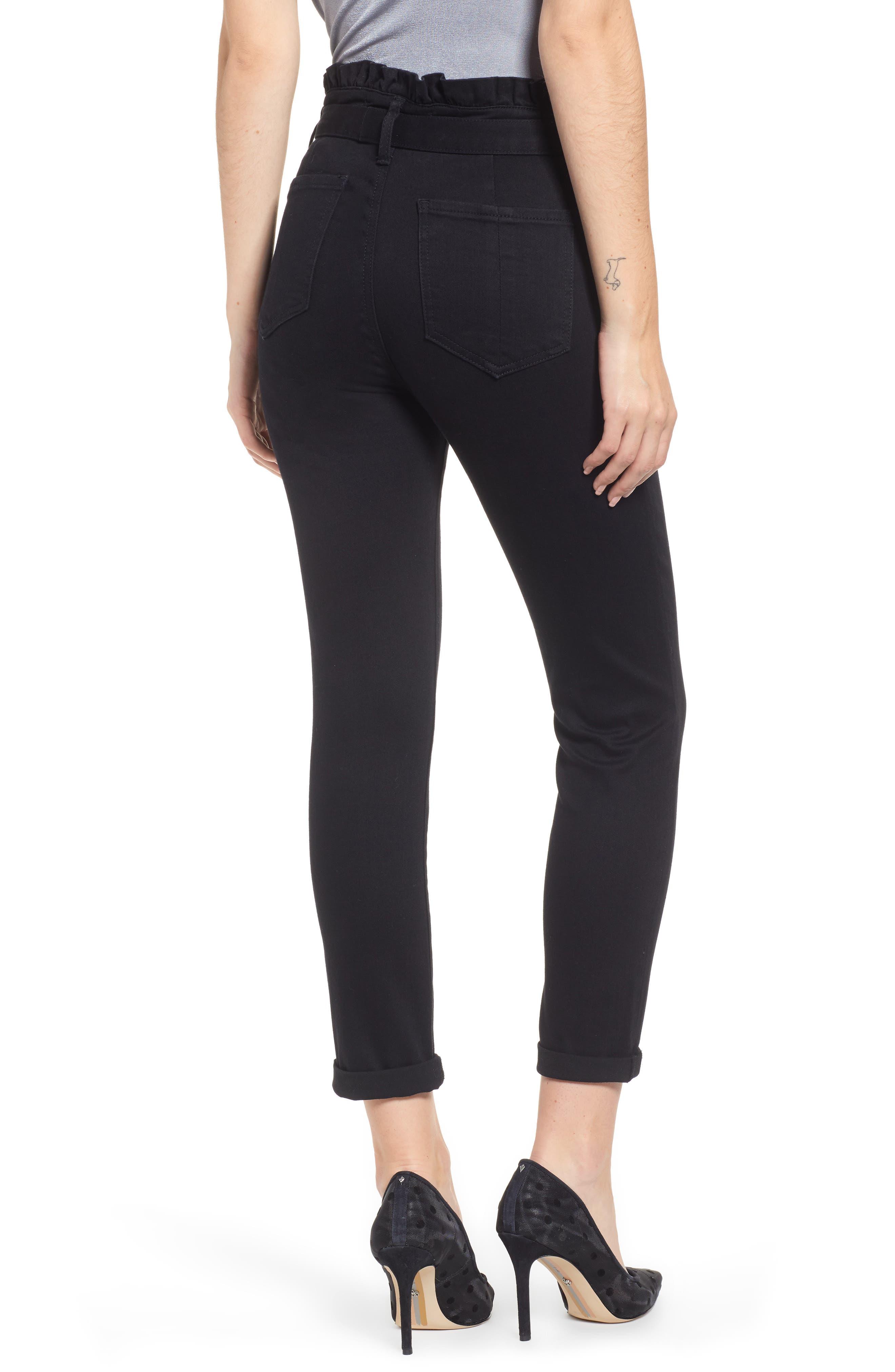 PROSPERITY DENIM, Paperbag Waist Skinny Jeans, Alternate thumbnail 2, color, BLACK
