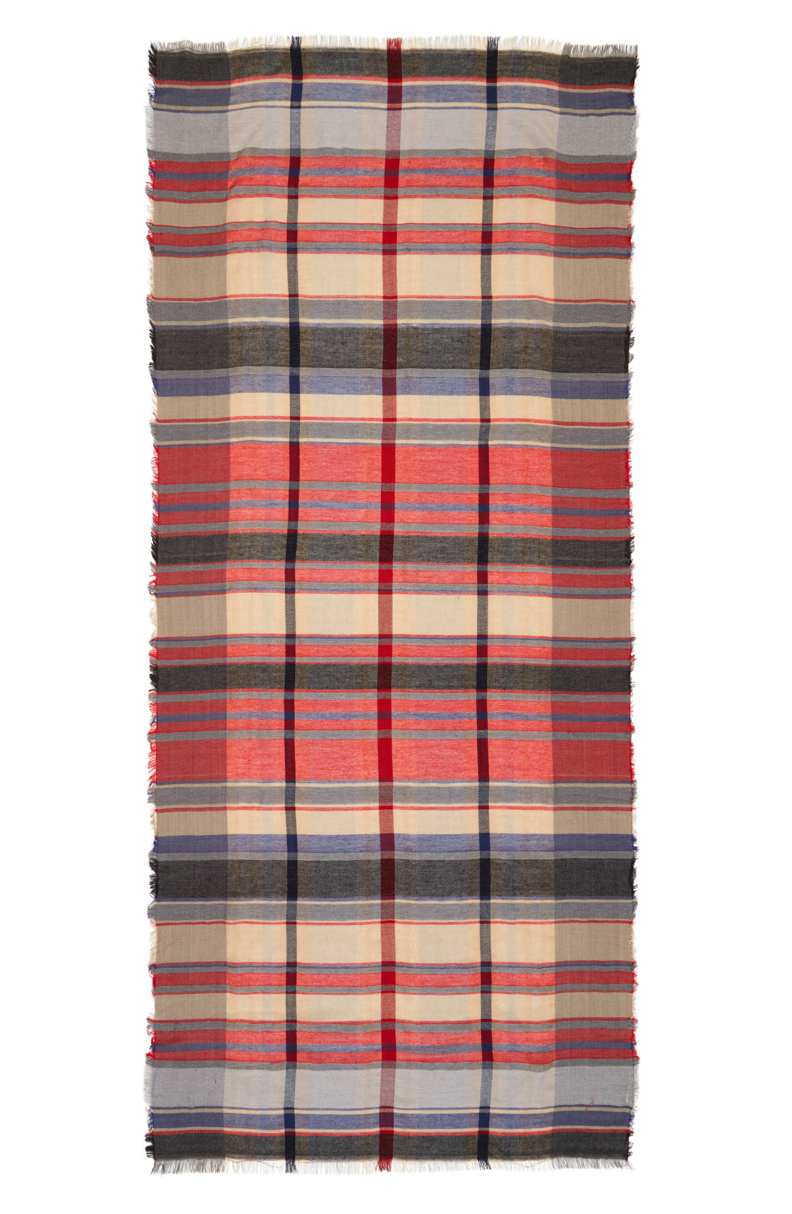BP., Plaid Oblong Scarf, Alternate thumbnail 2, color, 600