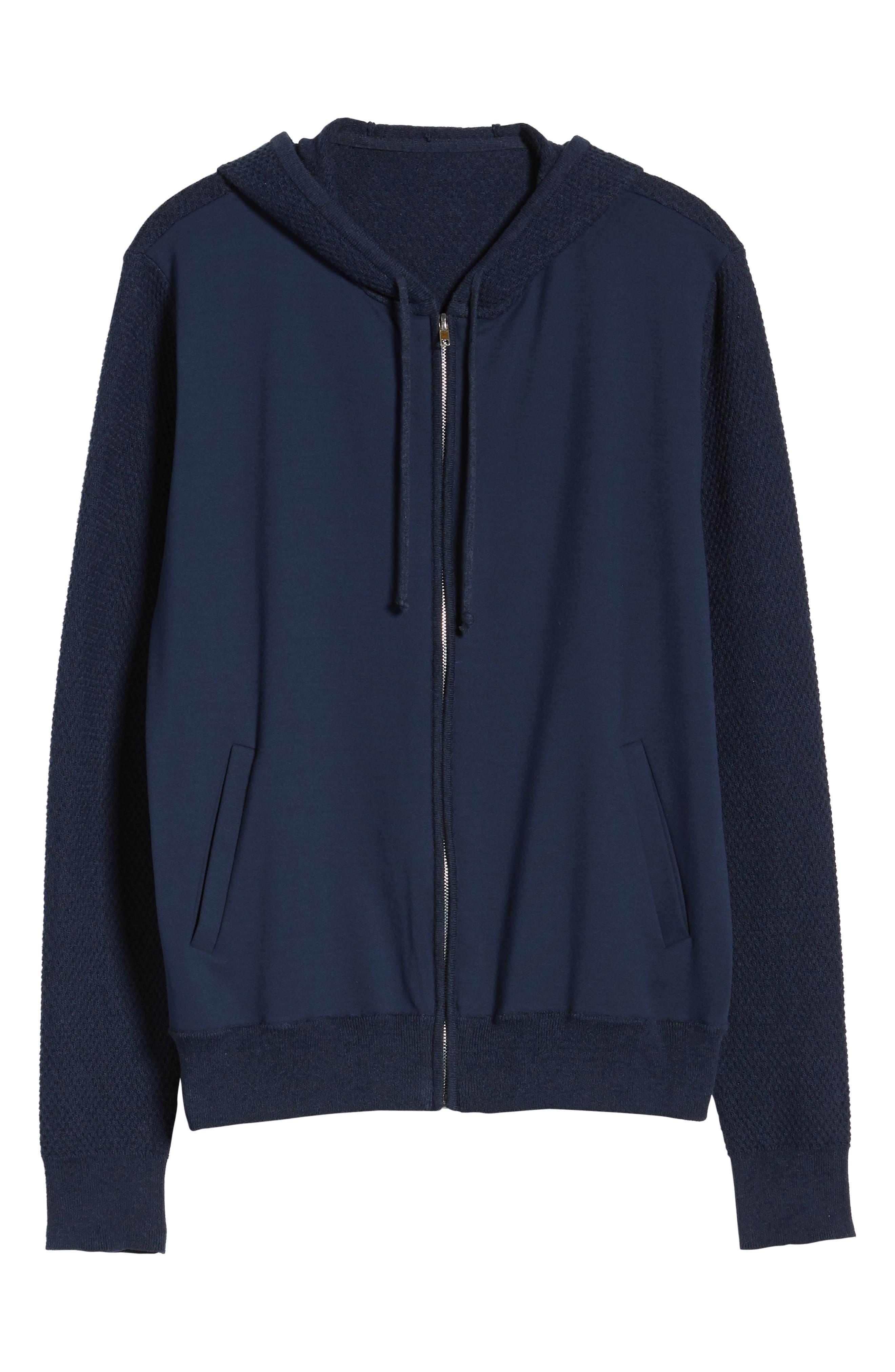 ZACHARY PRELL, Cedarhurst Hooded Zip Sweater, Alternate thumbnail 7, color, NAVY