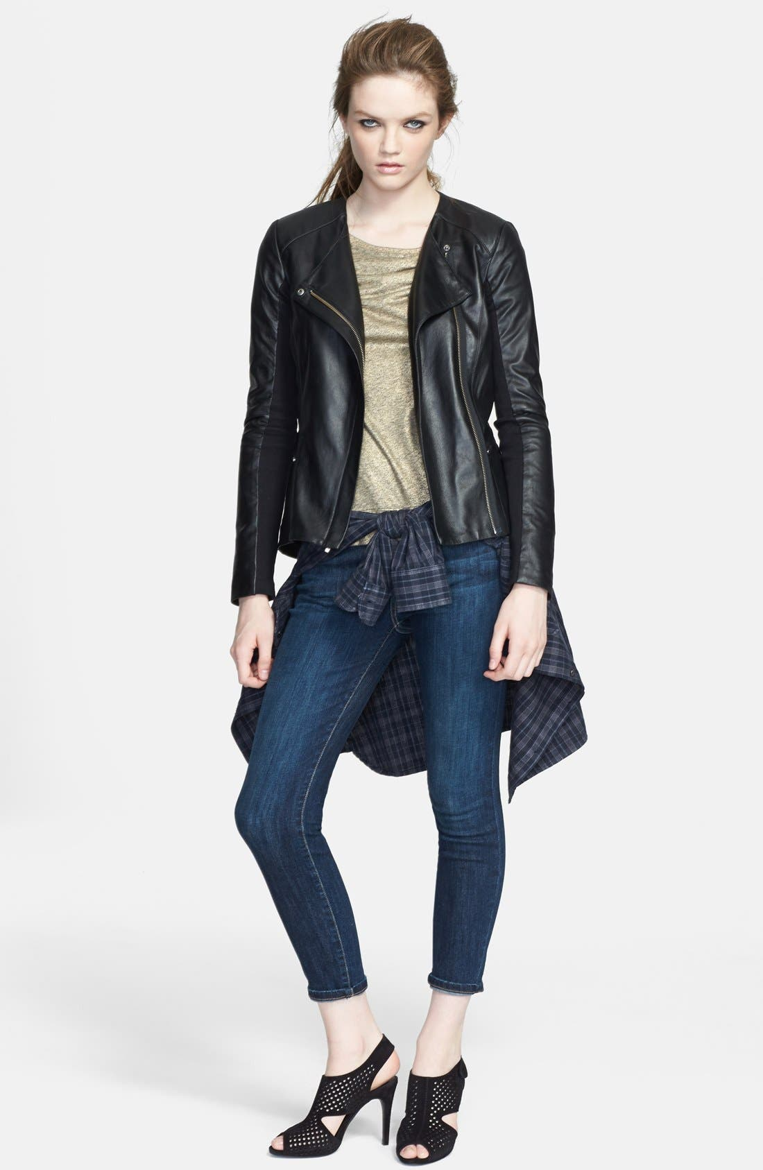 VEDA, 'Aires' Asymmetrical Zip Leather Jacket, Alternate thumbnail 2, color, 001