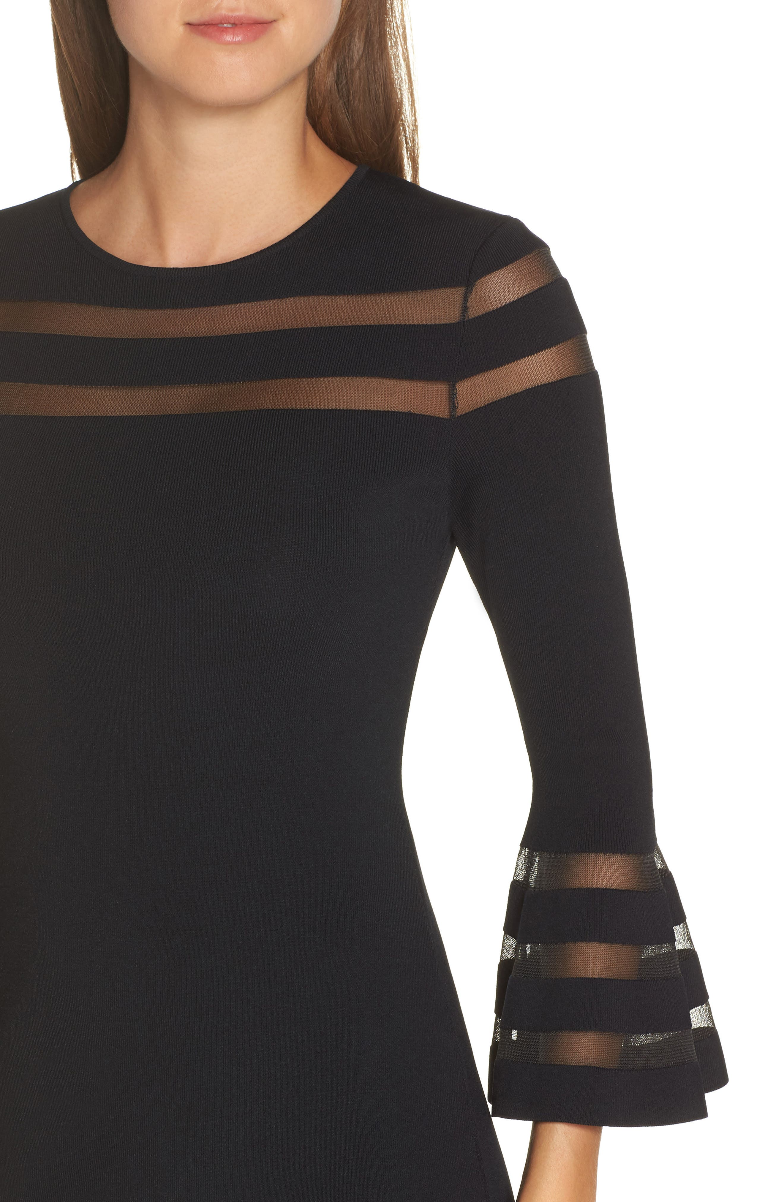 ELIZA J, Mesh Stripe Sweater Dress, Alternate thumbnail 5, color, BLACK