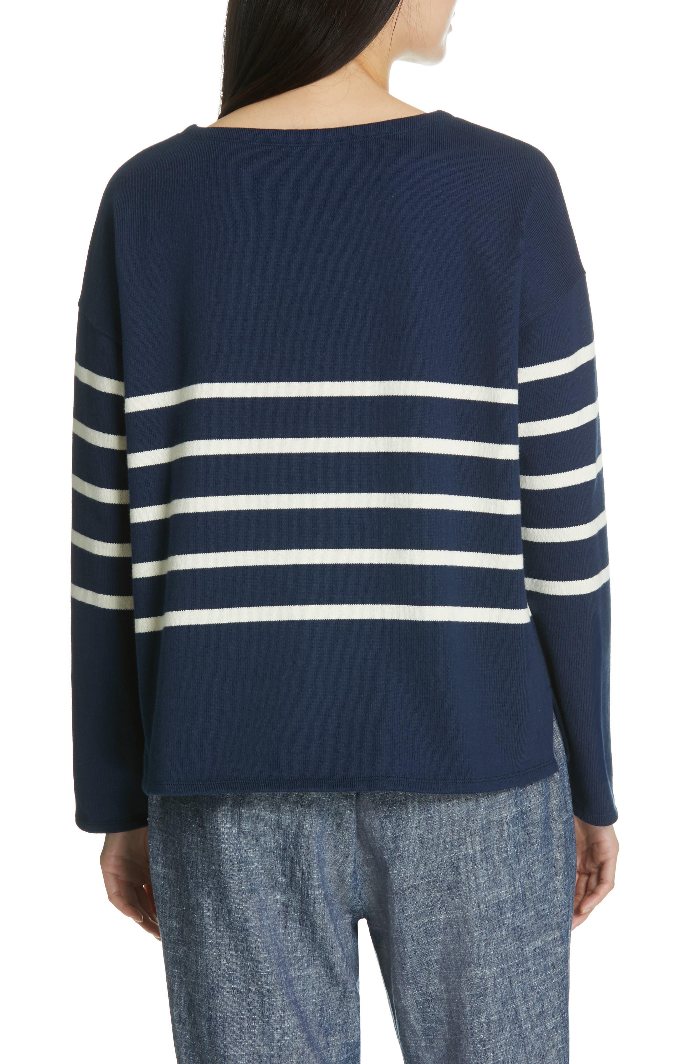 EILEEN FISHER, Stripe Organic Cotton Sweater, Alternate thumbnail 2, color, DENIM