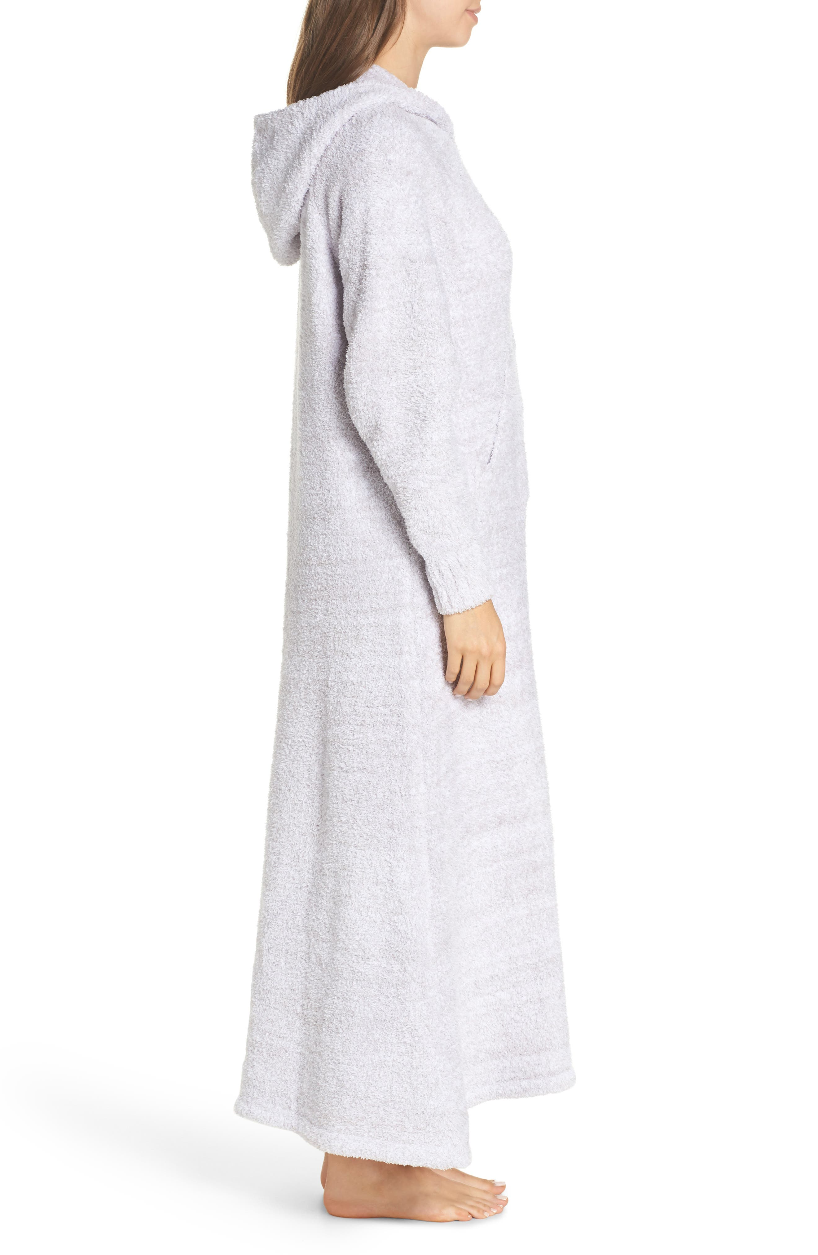 BAREFOOT DREAMS<SUP>®</SUP>, CozyChic<sup>®</sup> Hooded Zip Robe, Alternate thumbnail 3, color, OYSTER/ WHITE
