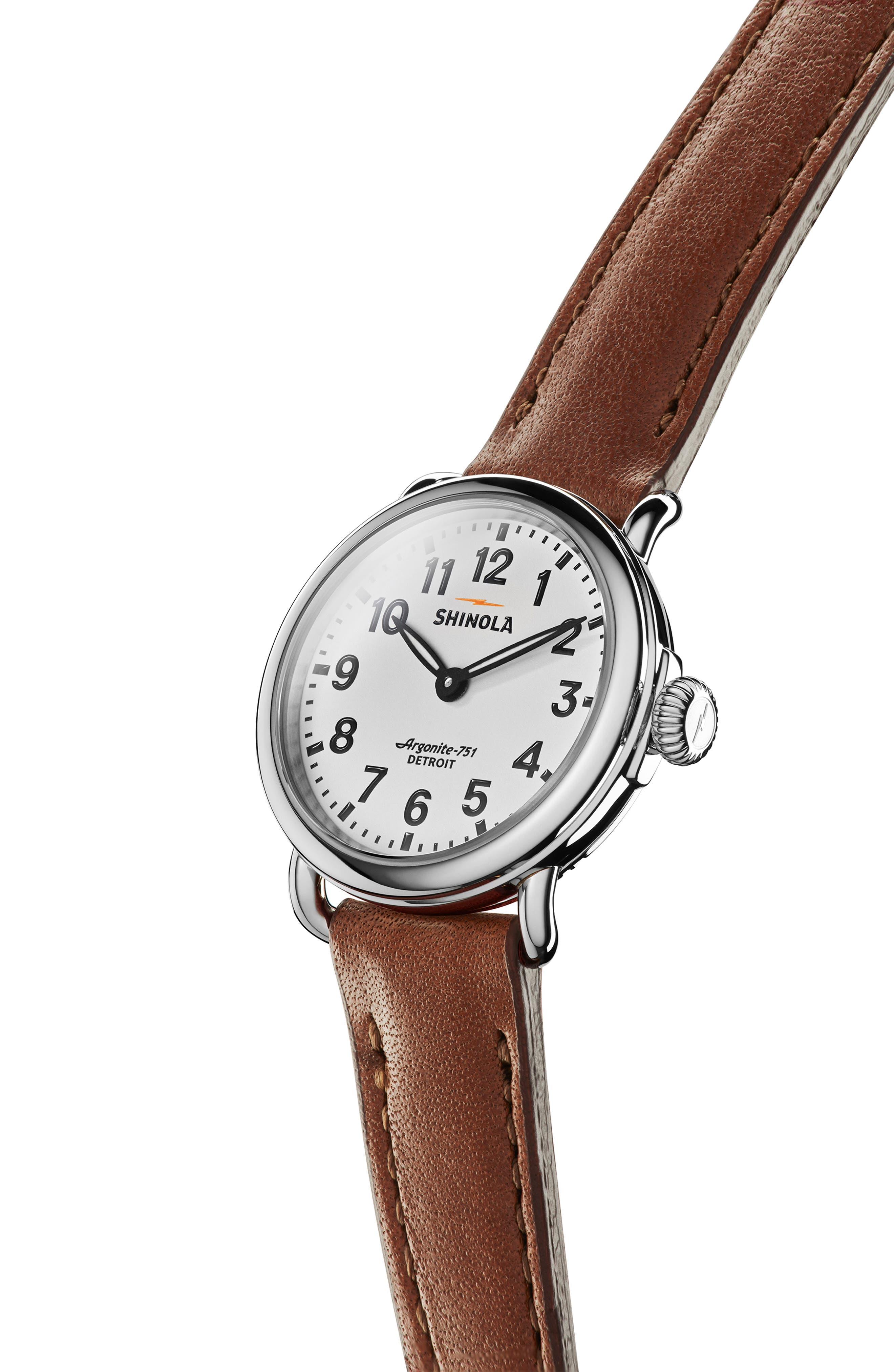 SHINOLA, The Runwell Leather Strap Watch, 28mm, Alternate thumbnail 5, color, DARK COGNAC/ WHITE/ SILVER