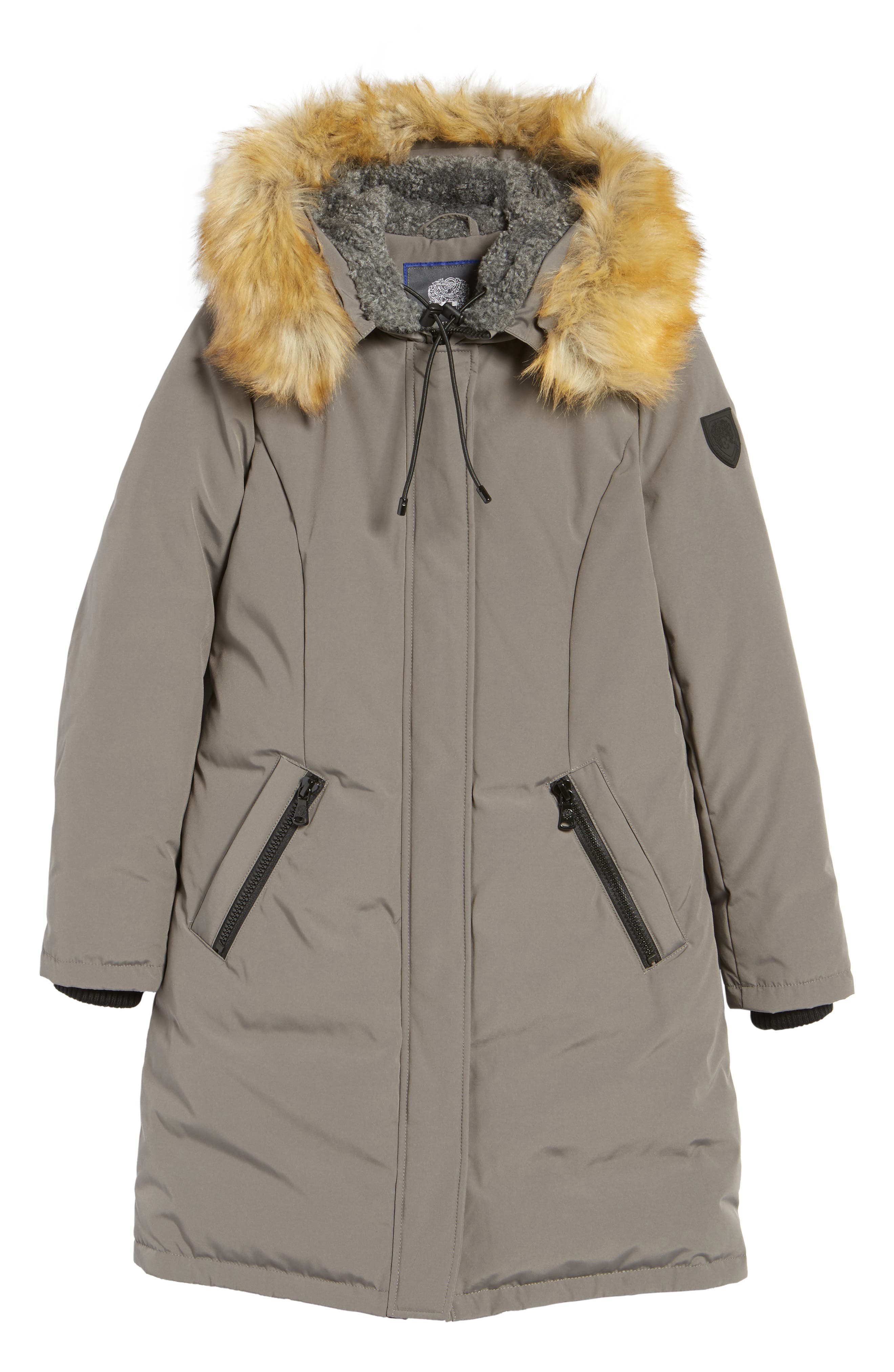 VINCE CAMUTO, Down & Feather Fill Parka with Faux Fur Trim, Alternate thumbnail 5, color, 020